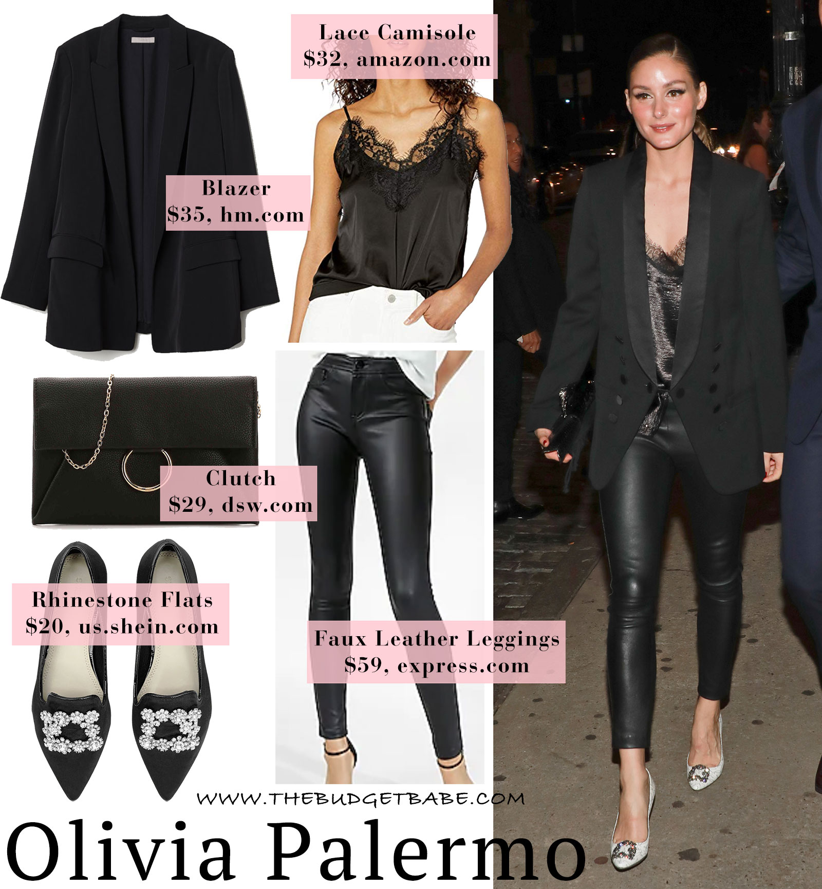 b5072a6e091943 Olivia Palermo's Leather Leggings and Tuxedo Blazer Look for Less