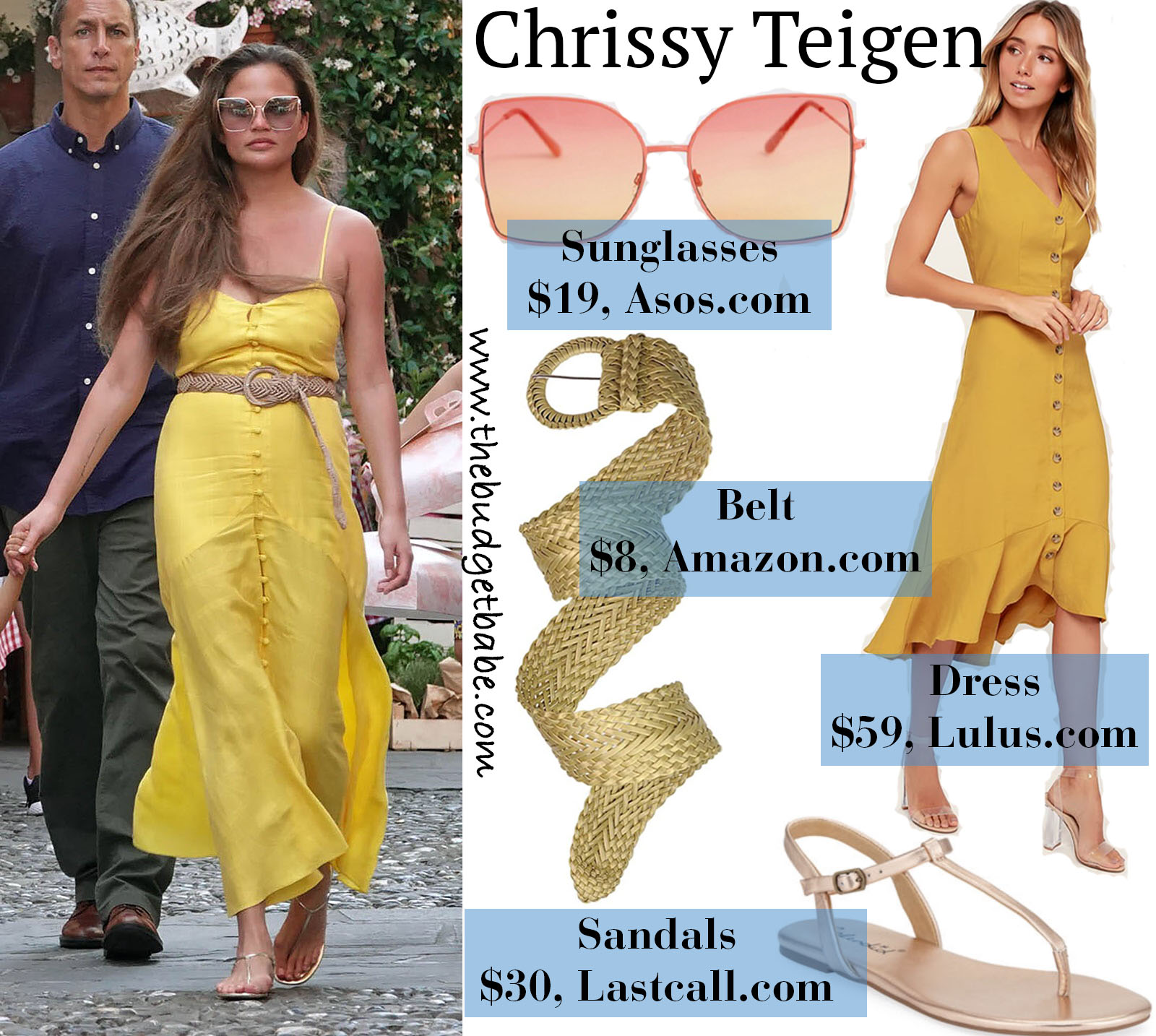Chrissy Teigen's yellow maxi dress look for less as seen in Portofino