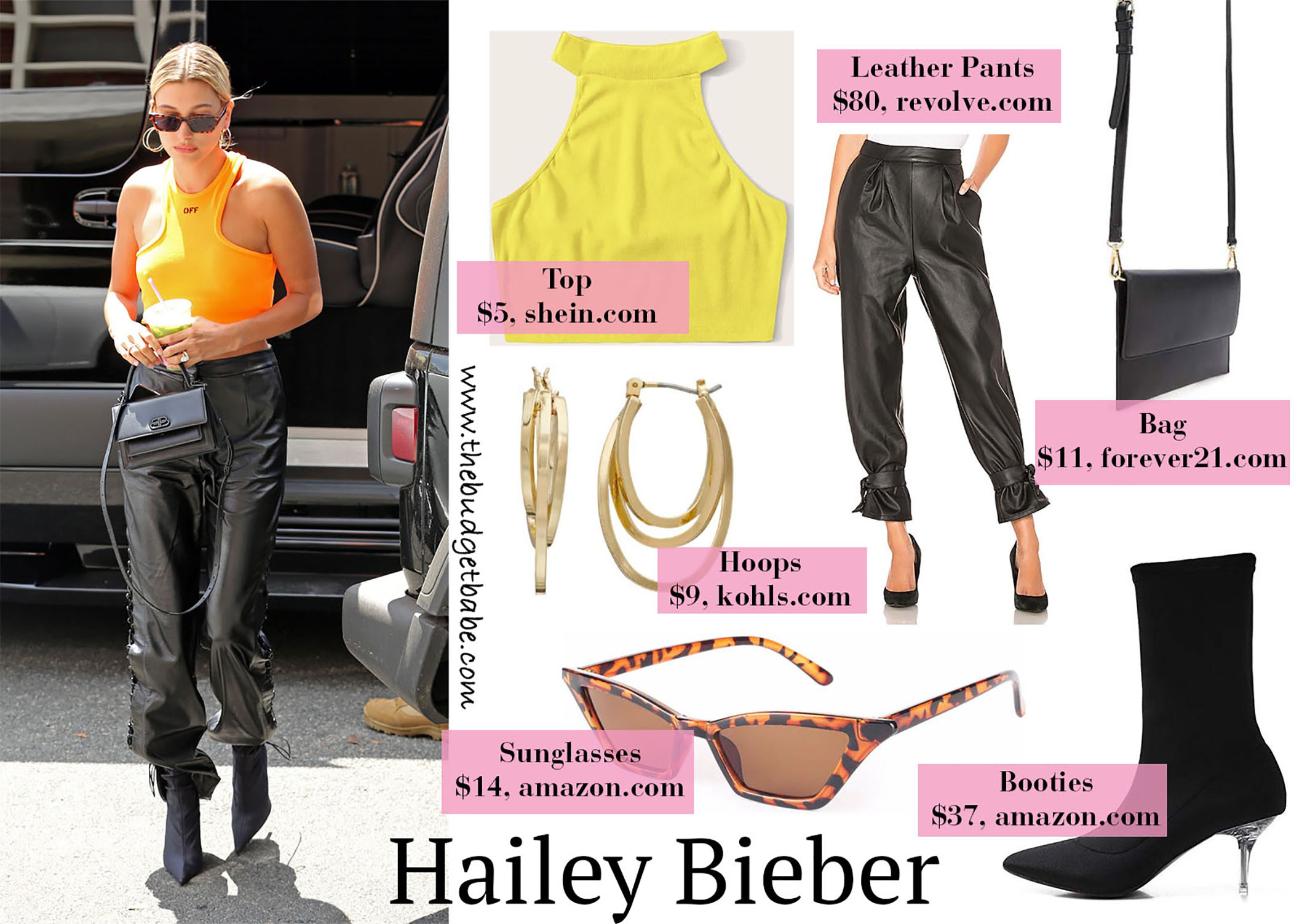 Hailey Bieber Yellow Tank Leather Pants
