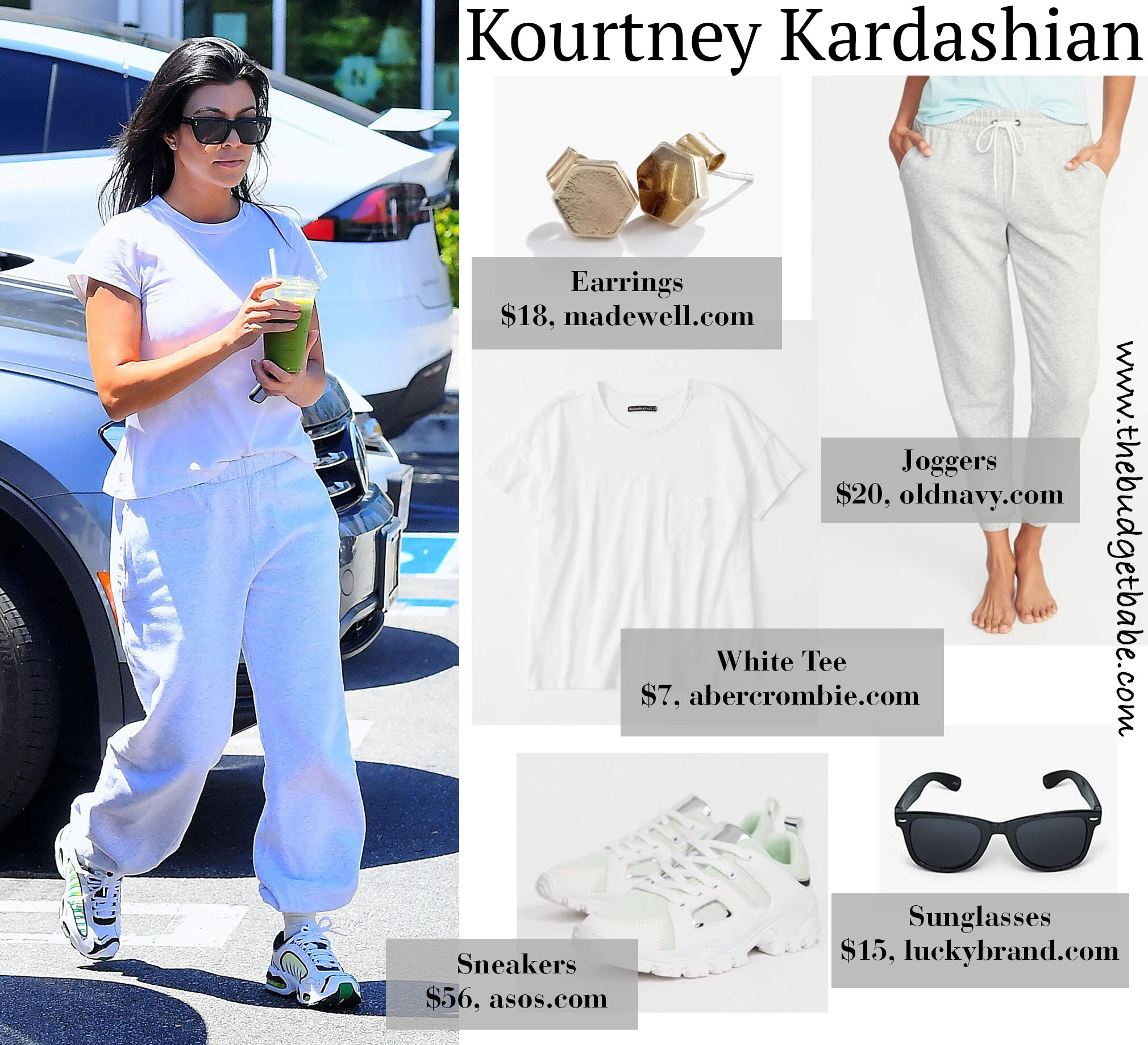 Kourtney Kardashian White Tee Joggers Look for Less