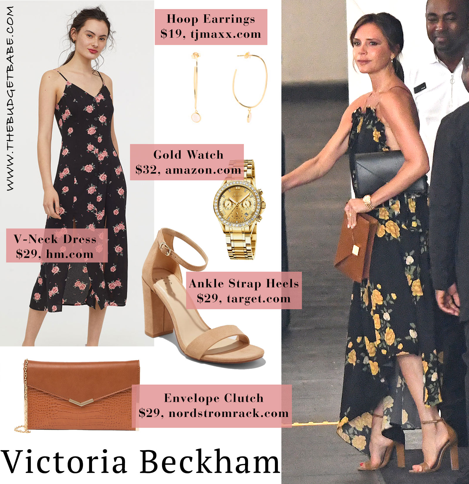 Victoria Beckham yellow and black floral backless maxi dress look for less