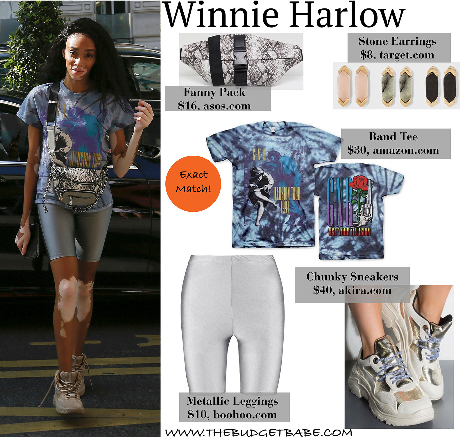Winne Harlow Guns N' Roses Tee, Metallic Shorts, and Crossbody Fanny Pack Look for Less