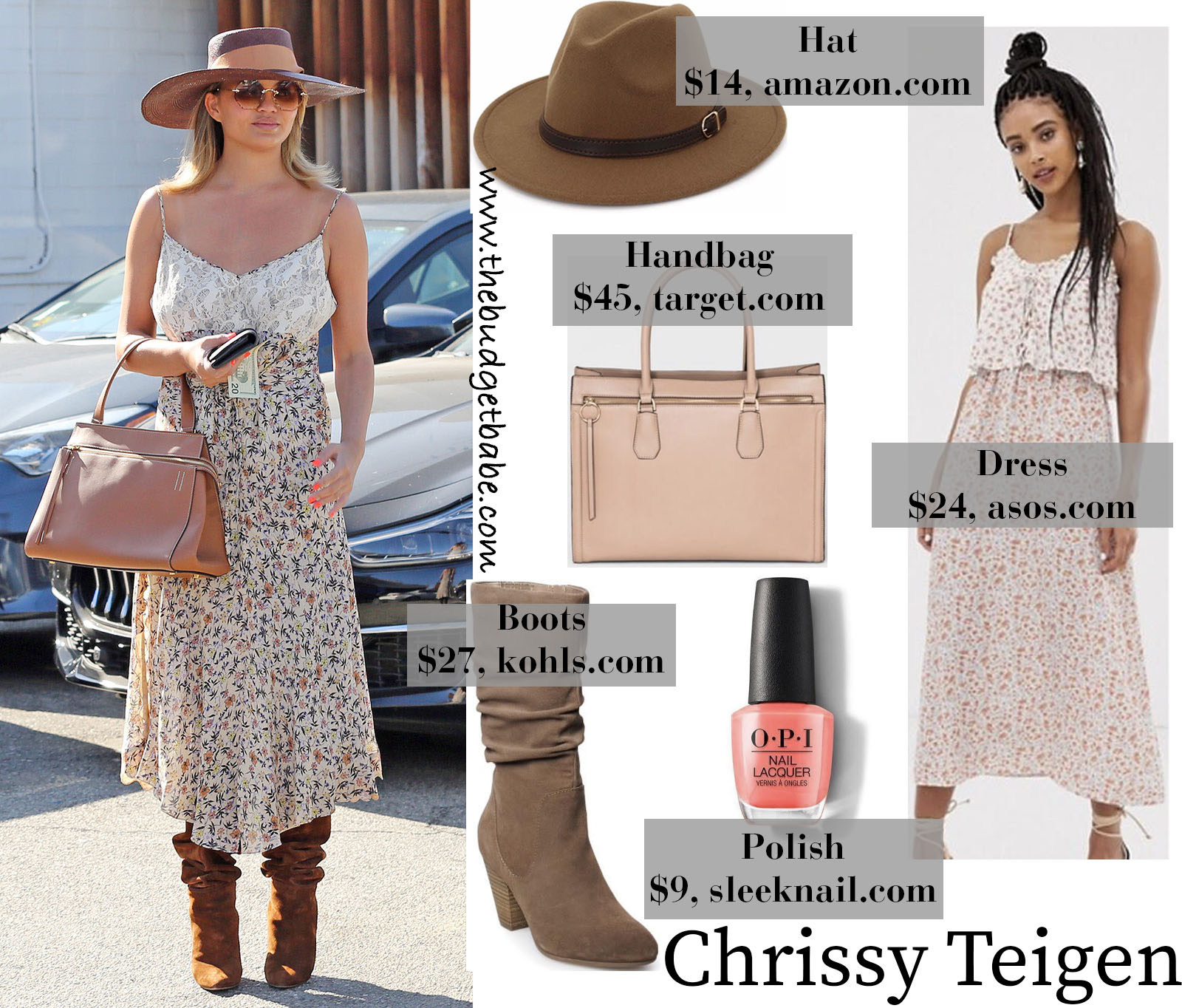 Chrissy Teigen's Floral Midi Dress, Suede Boots, and Wide Brim Hat