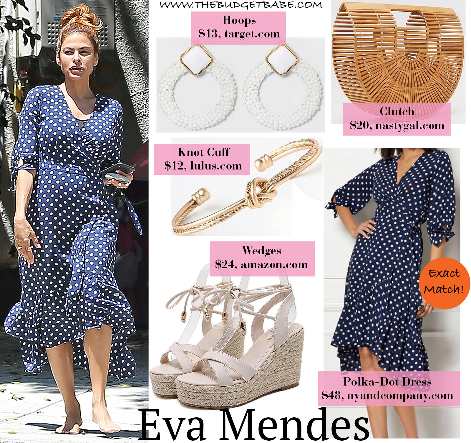 Eva Mendes Polka-Dot Wrap Dress