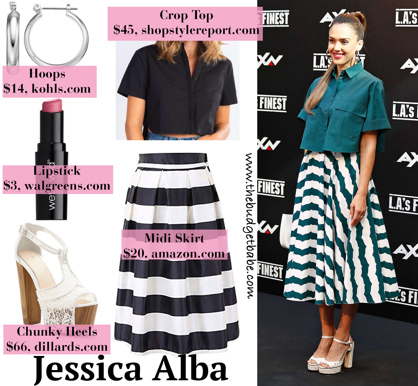Jessica Alba Striped Skirt