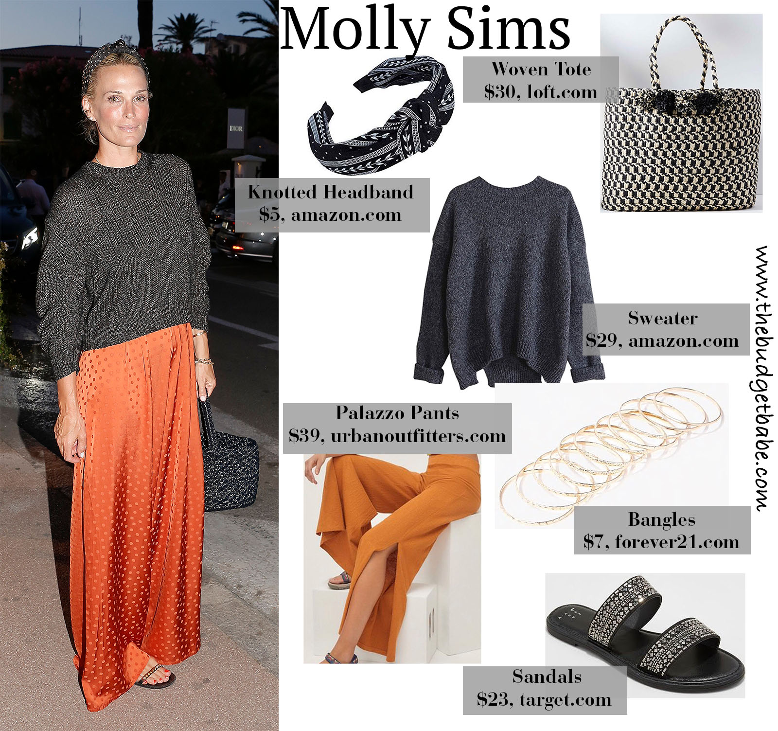 Molly Sims Knit Sweater, Orange Palazzo Pants, Knotted Headband