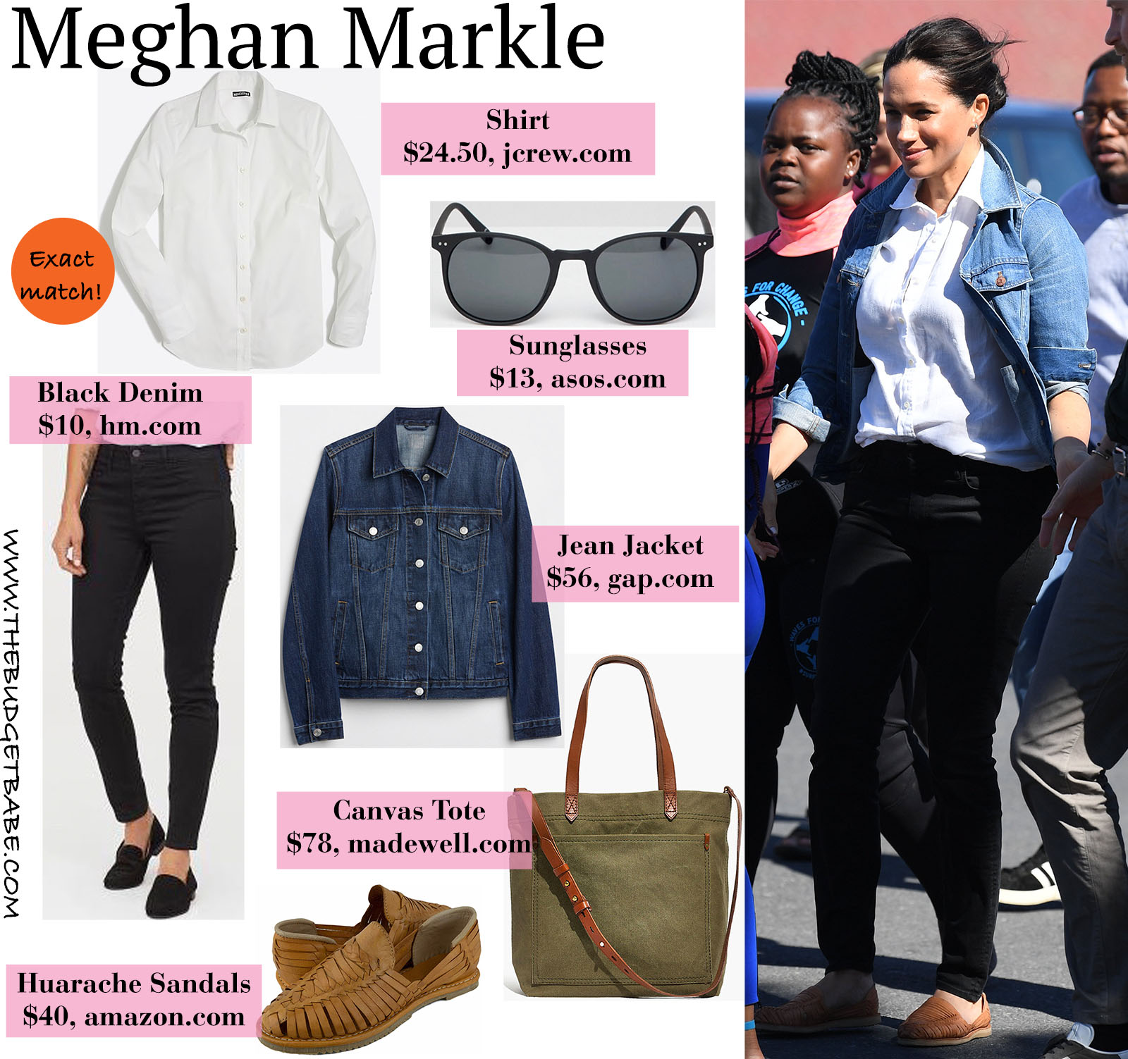 Meghan Markle is casual and chic in a jean jacket, white collared shirt, black denim, and huarache sandals.