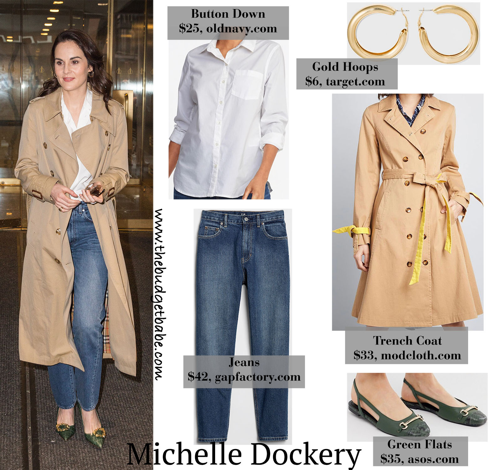 Michelle Dockery looks classic and chic in a long trench coat and green flats!