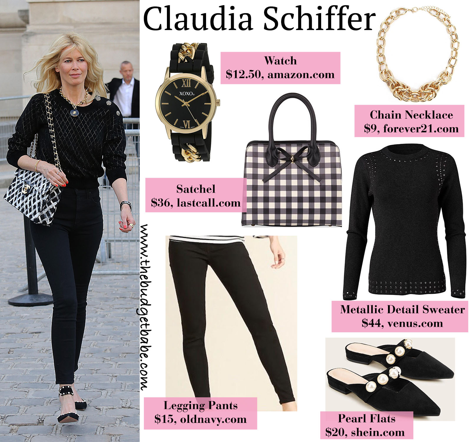 Claudia Schiffer stuns in Chanel accessories and all black outfit!