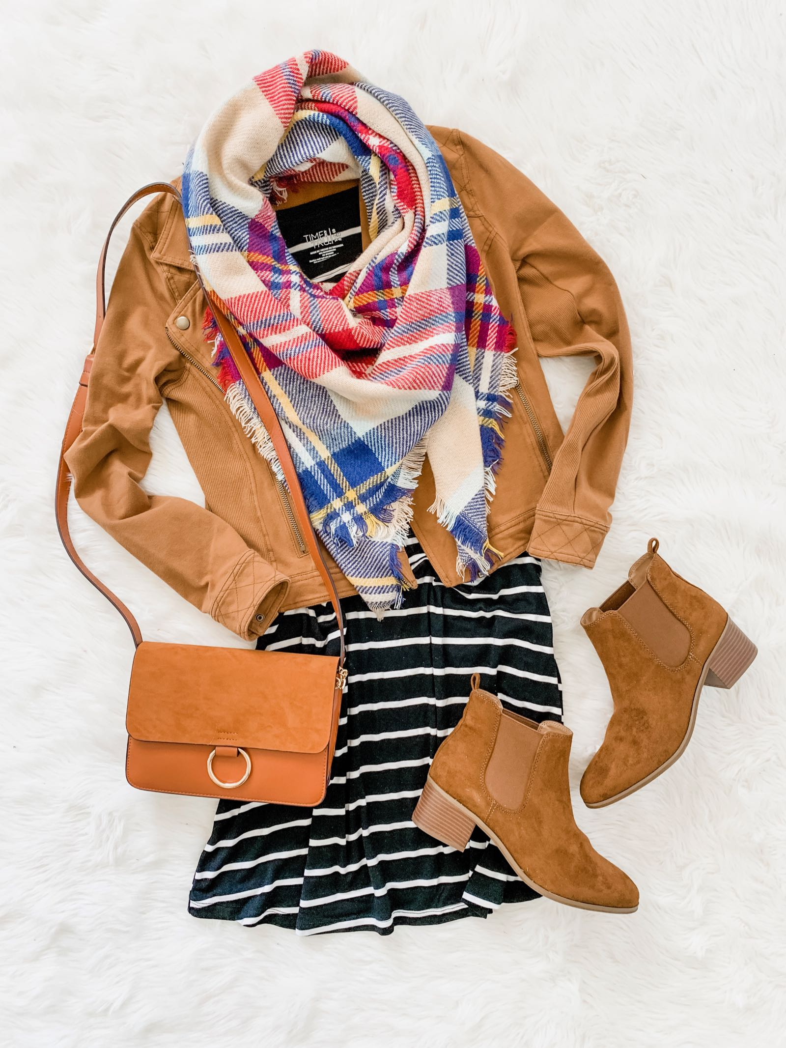 Stripe dress, camel moto jacket, plaid blanket scarf and ankle booties outfit idea for fall