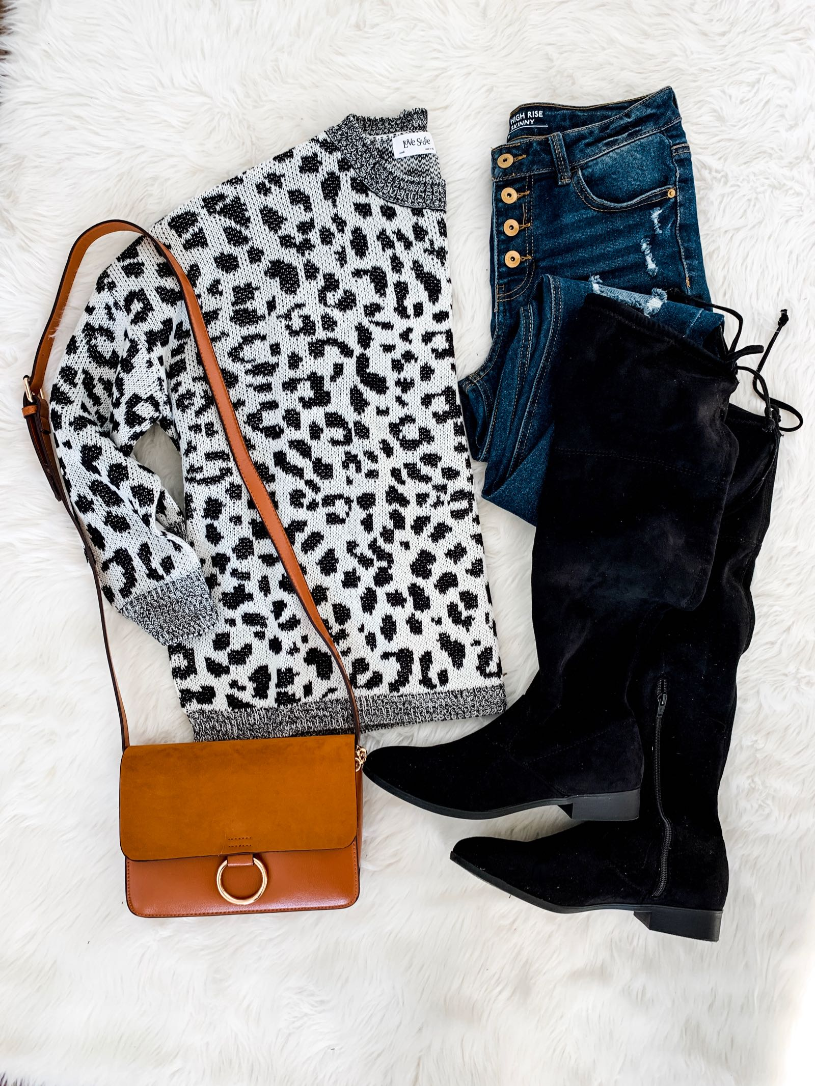 Leopard sweater for $19 and over the knee boots for $19 at Walmart!
