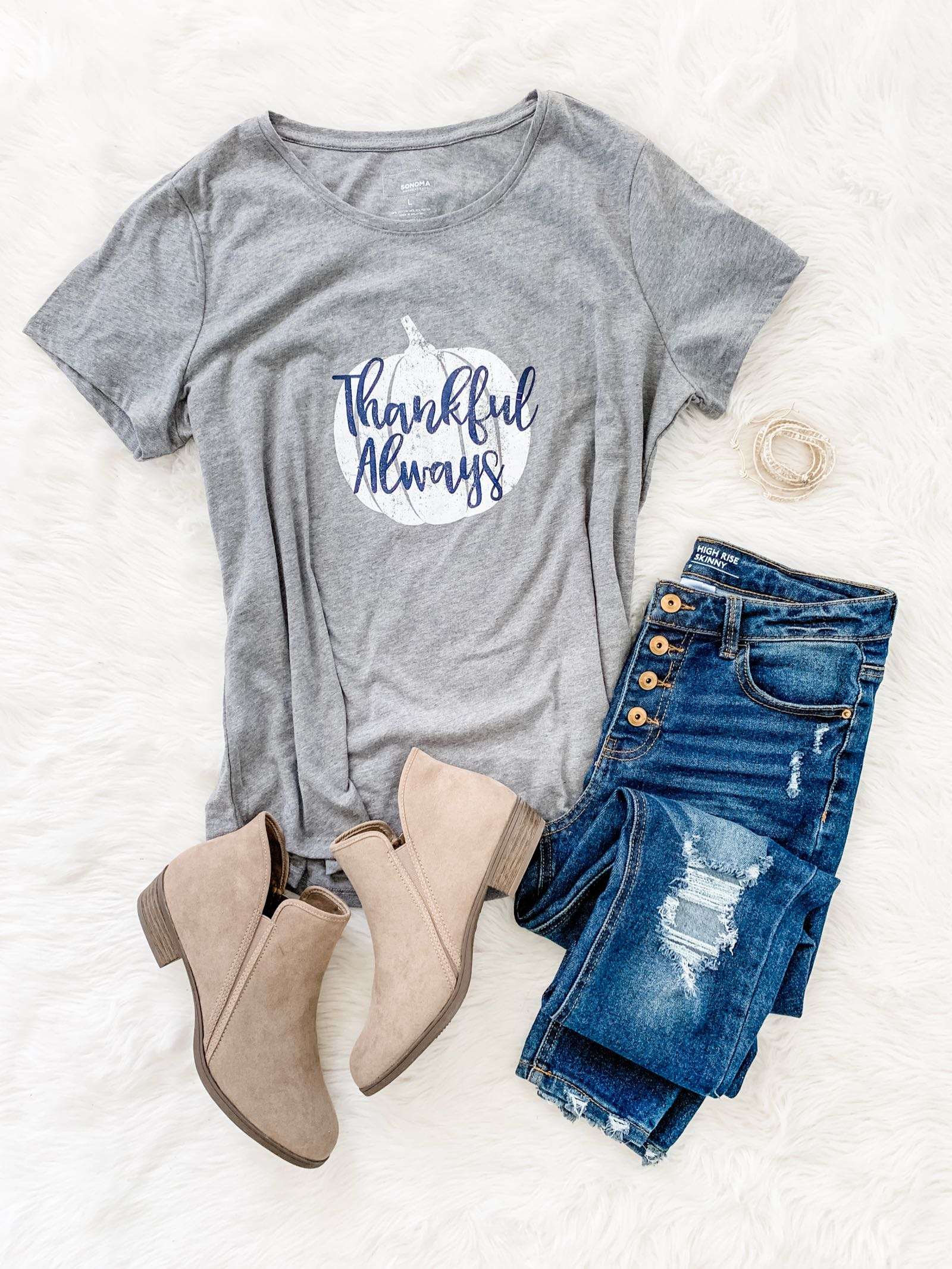 Thankful Always t-shirt and greige ankle booties outfit idea for fall