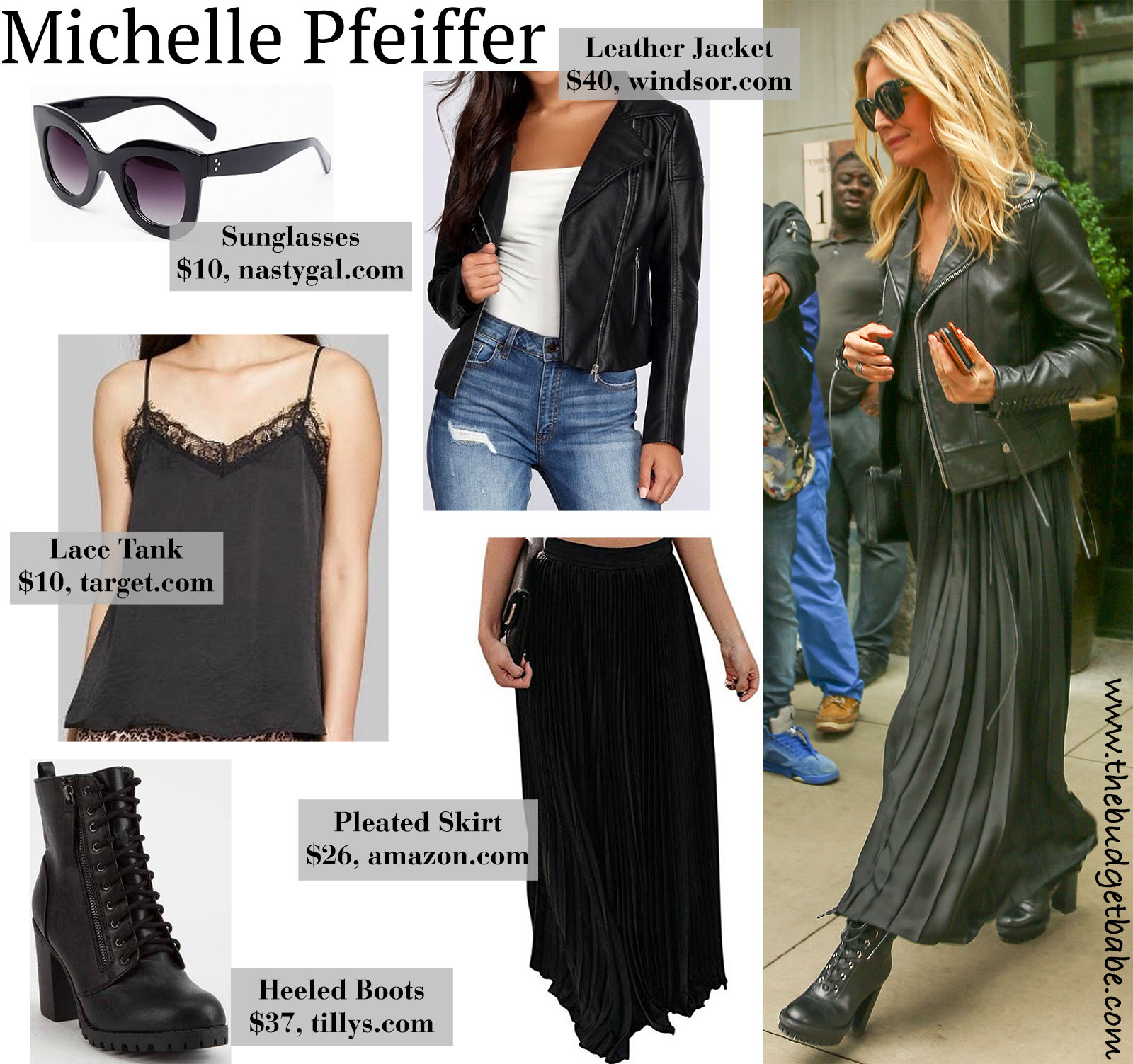 Actress Michelle Pfeiffer looks sexy in a black leather moto jacket, lace cami tank, pleated maxi skirt, and heeled combat boots!