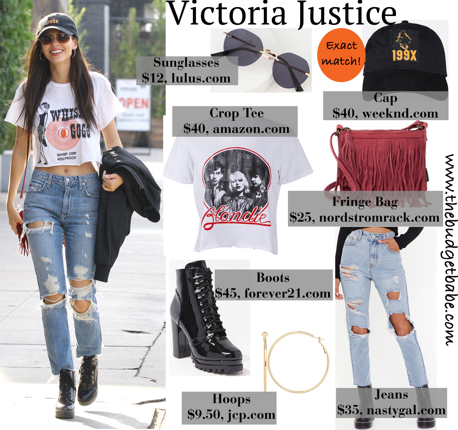 Victoria Justice serves cool street style in classic tee, destroyed jeans, and combat boots!