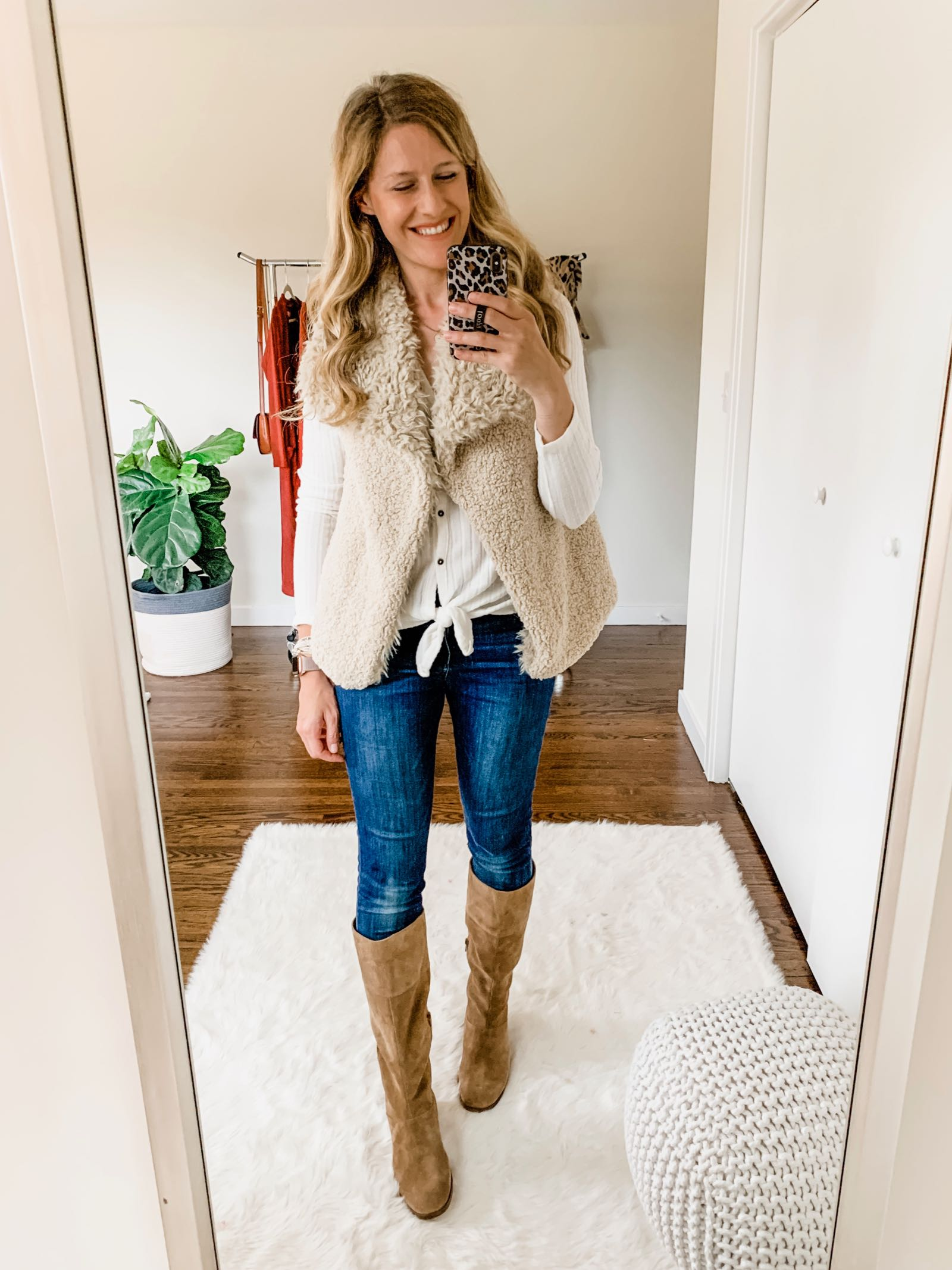 Fall outfit idea with shearling vest and tall suede boots on a budget // The Budget Babe Fashion Blog
