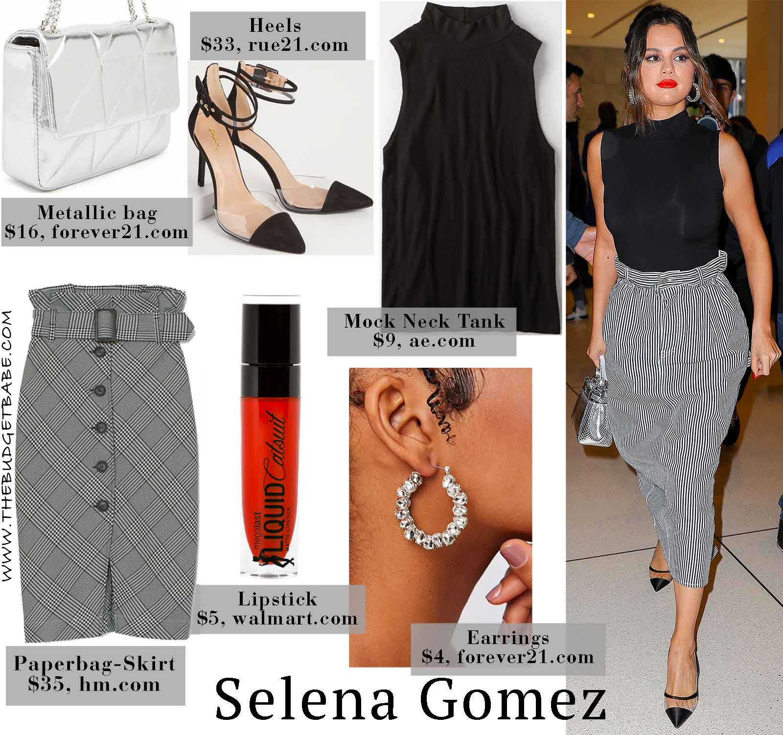 Selena Gomez's Striped Skirt, Black Tank, and Metallic Mini Bag Look for Less