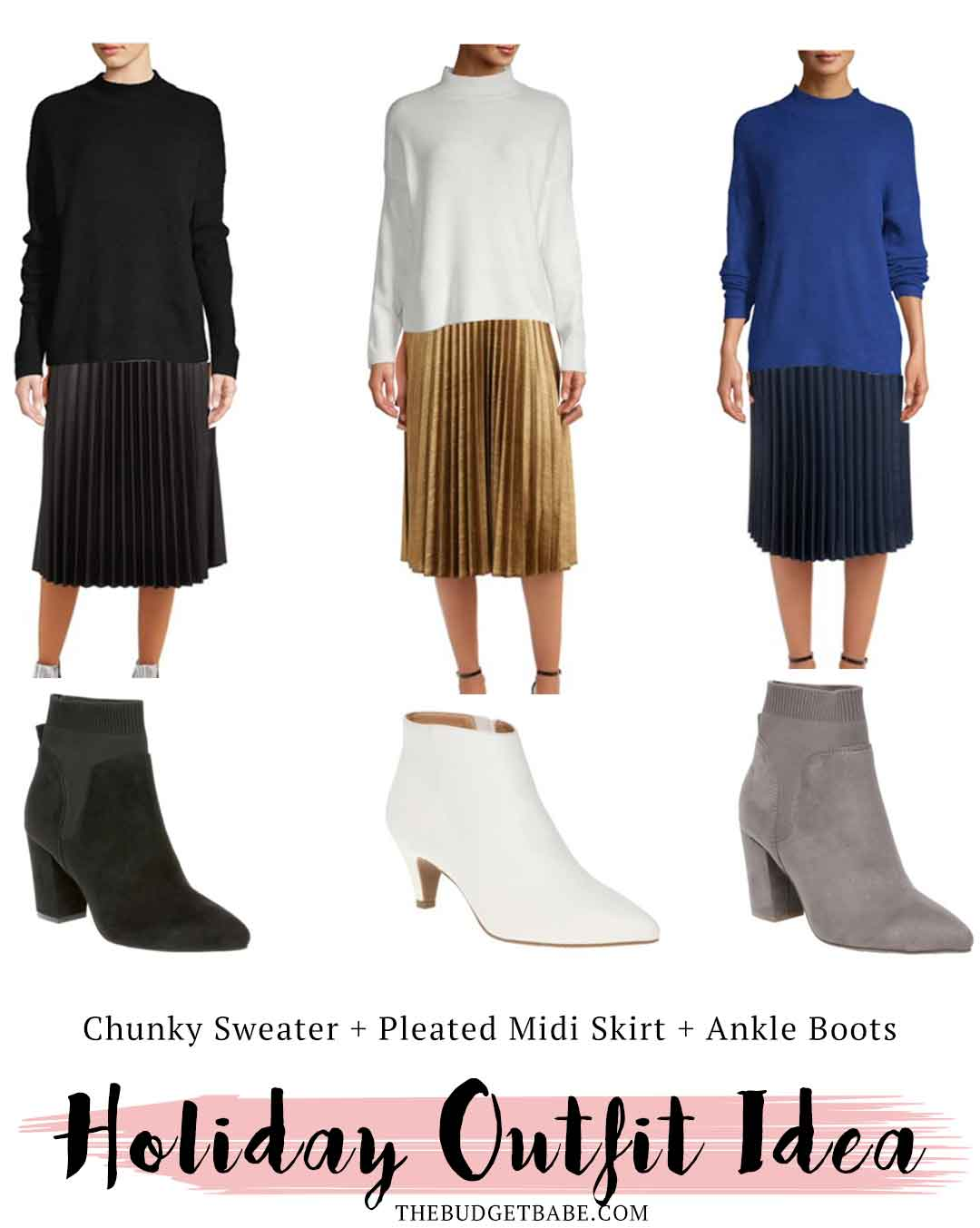 Go-To Holiday Outfit Idea featuring Walmart sweater, pleated midi skirt and ankle booties