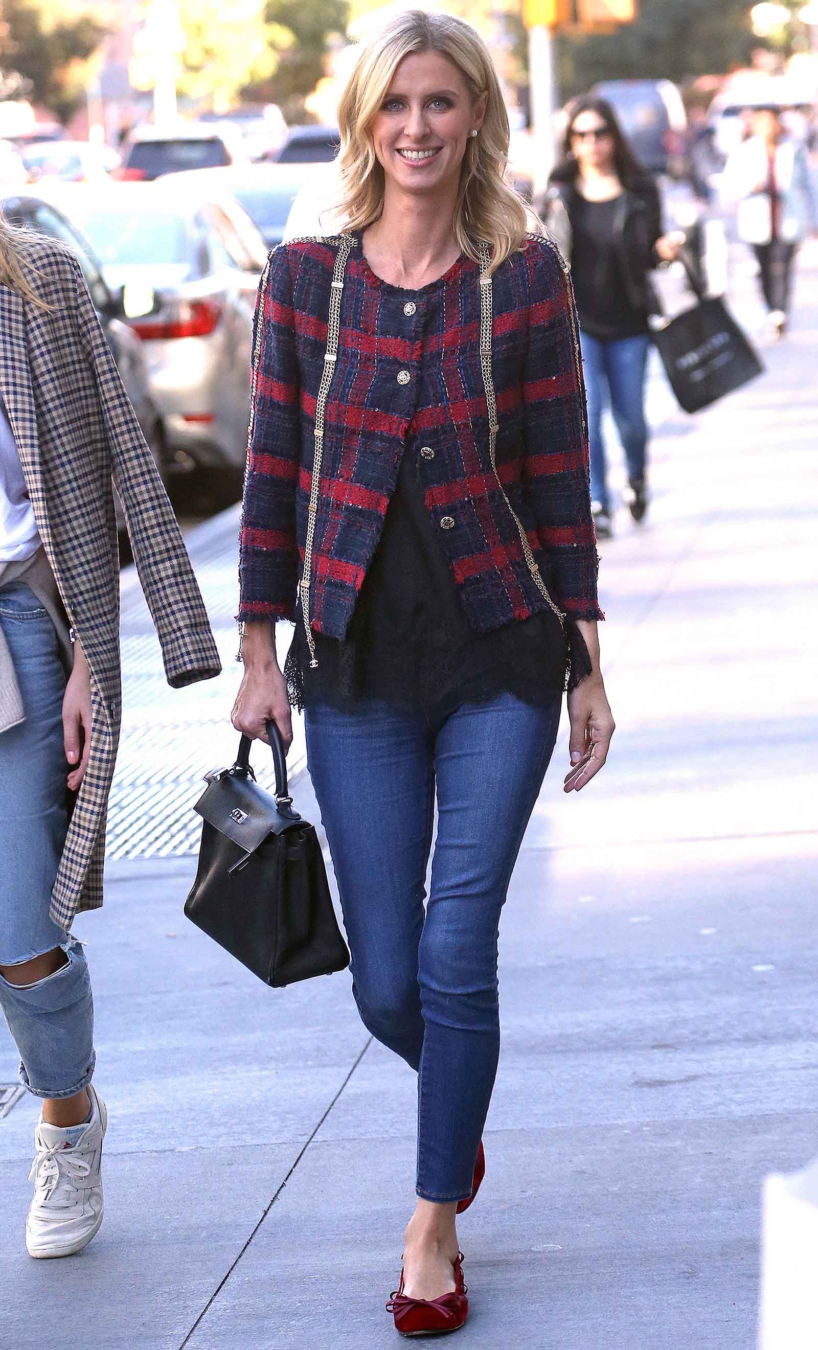 Nicky Hilton's Chanel tweed jacket is perfect for winter!
