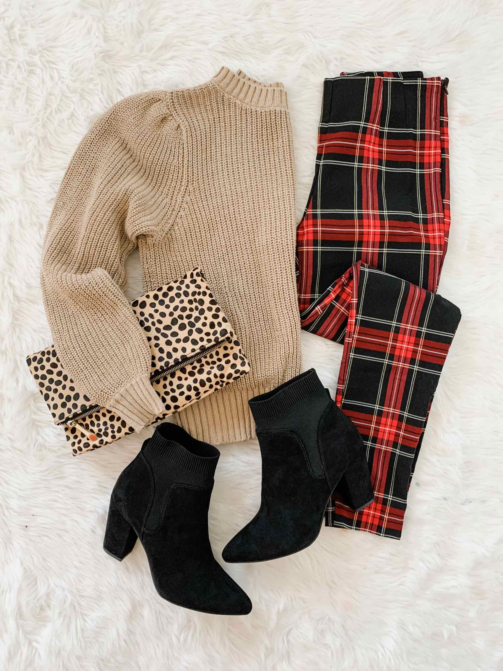 Plaid pants and ankle boots for the holidays!