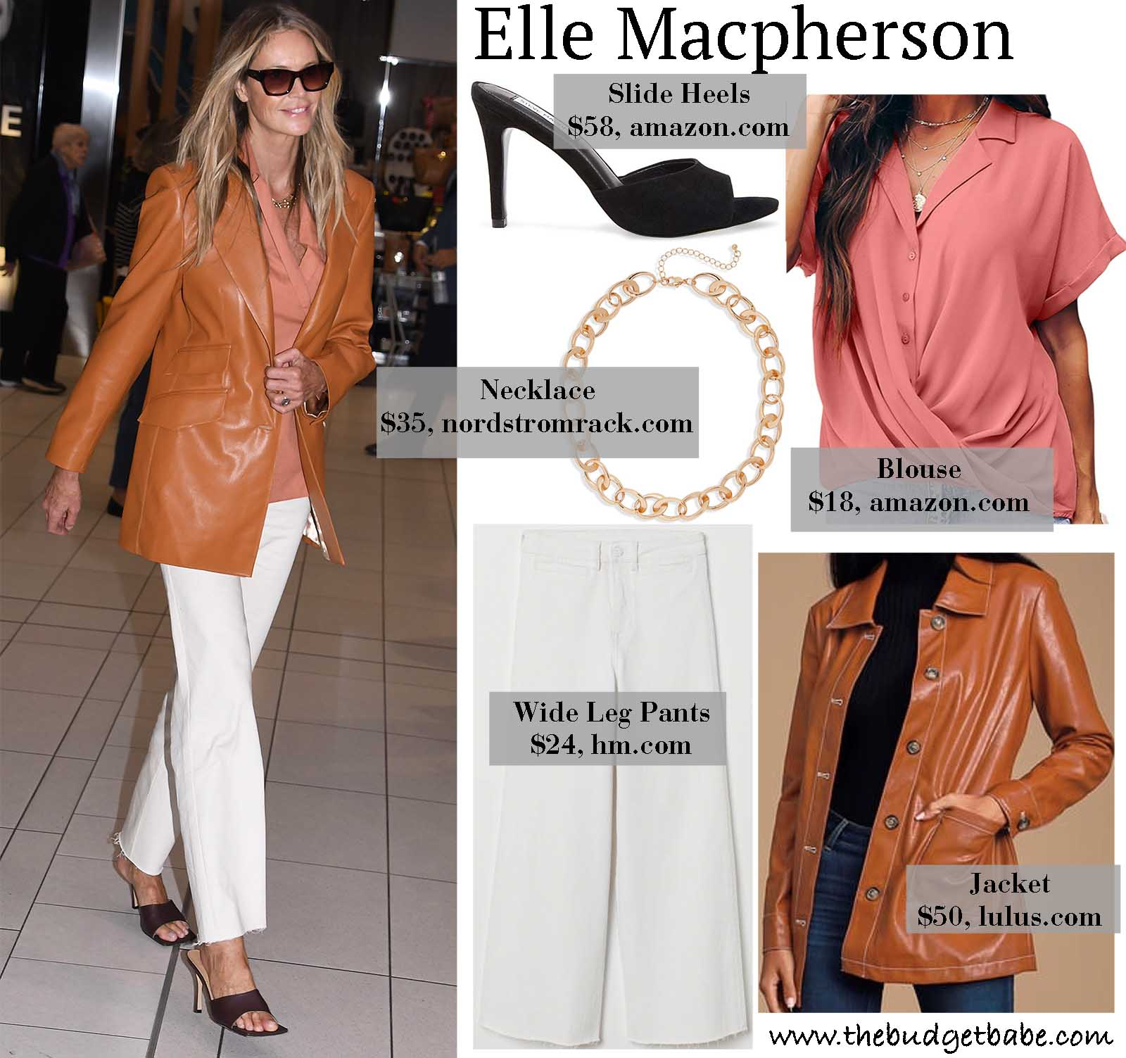 Elle Macpherson is serving serious style in her brown leather jacket and wide leg pants!