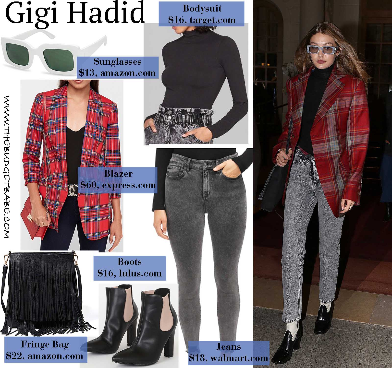 Gigi Hadid's plaid boyfriend blazer is right on trend.