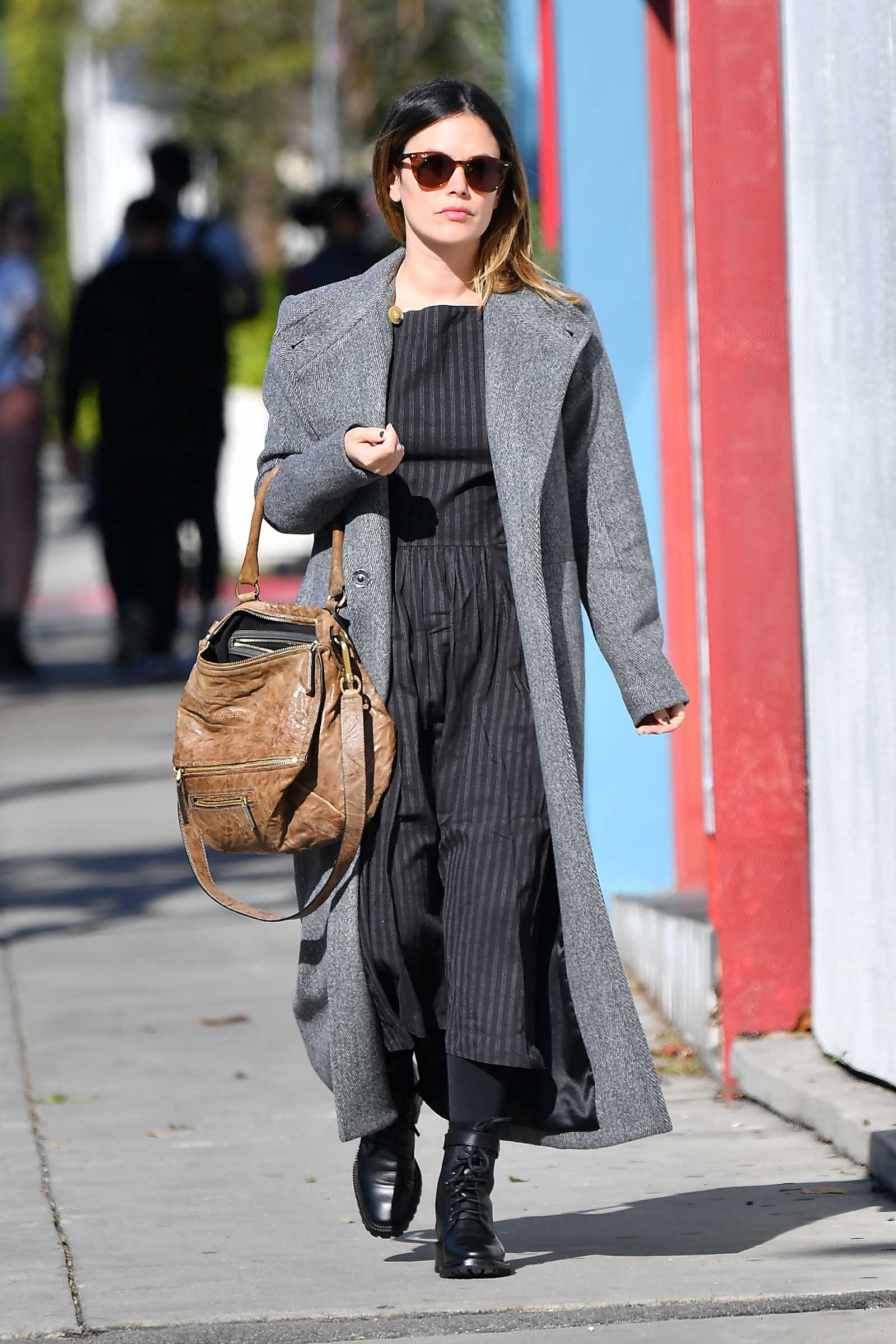 Rachel Bilson is stylish in a wool overcoat and combat boots!