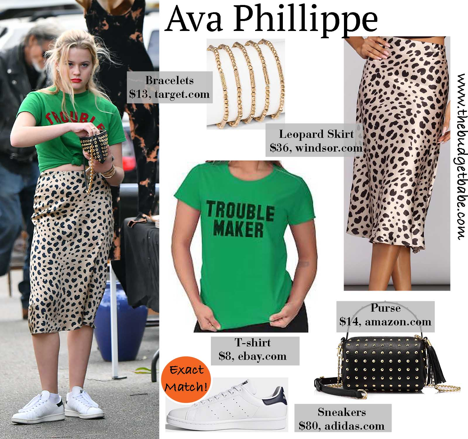 Ava Phillippe switches up her casual look with a satin leopard midi skirt!