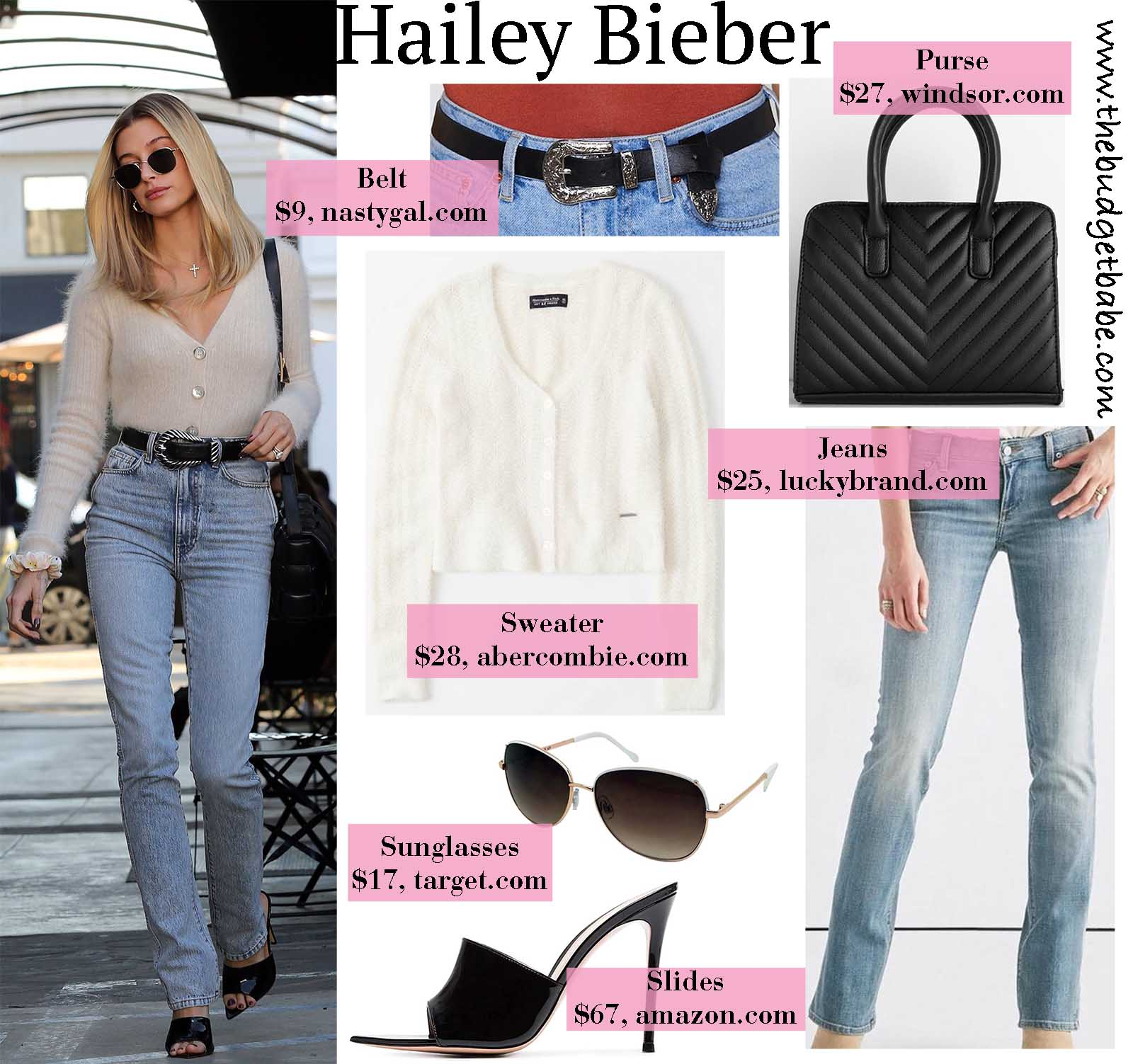 Hailey Bieber works an eyelash sweater and jeans beautifully!