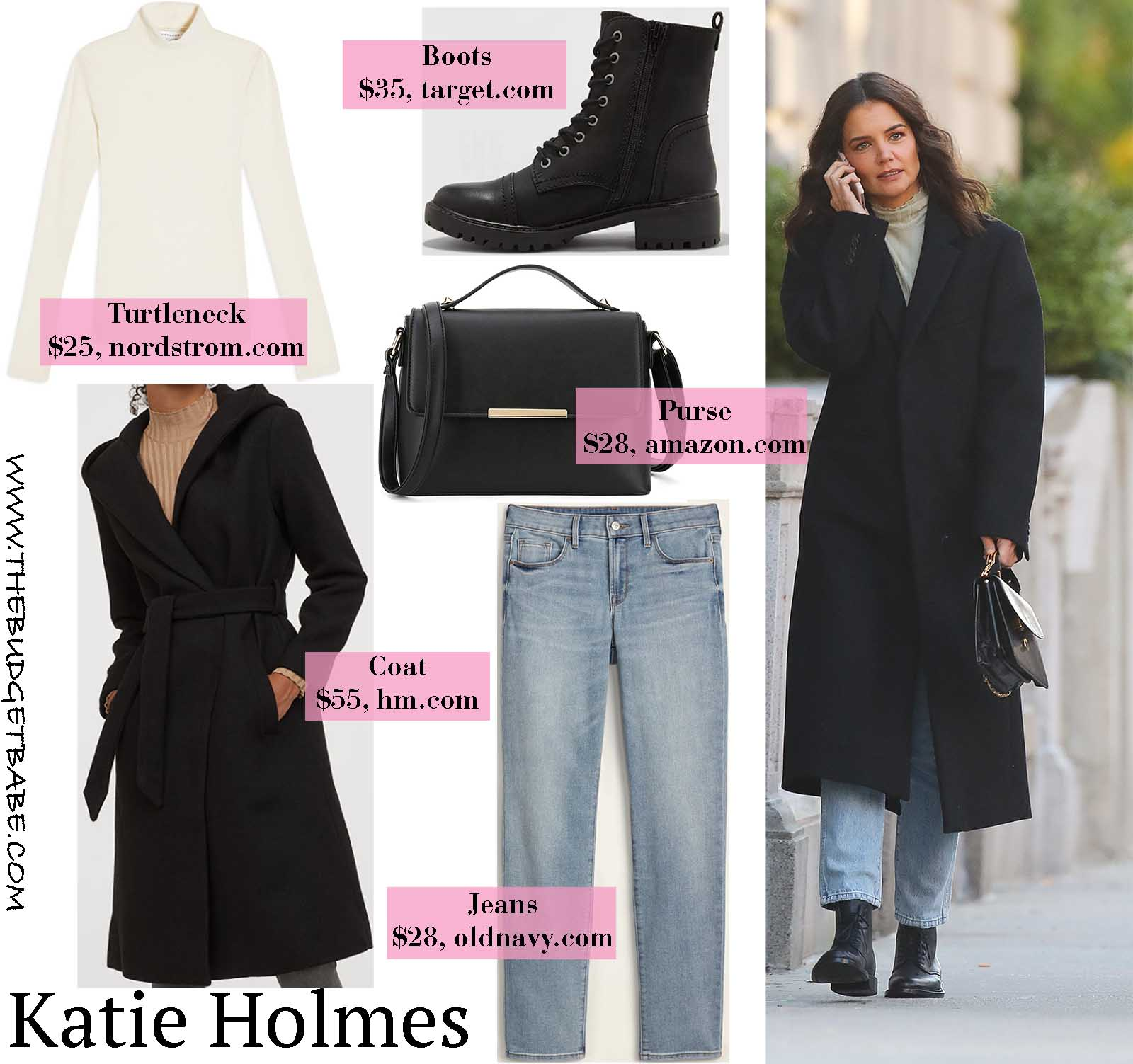 Katie Holmes stays warm in a sleek oversized wool coat.
