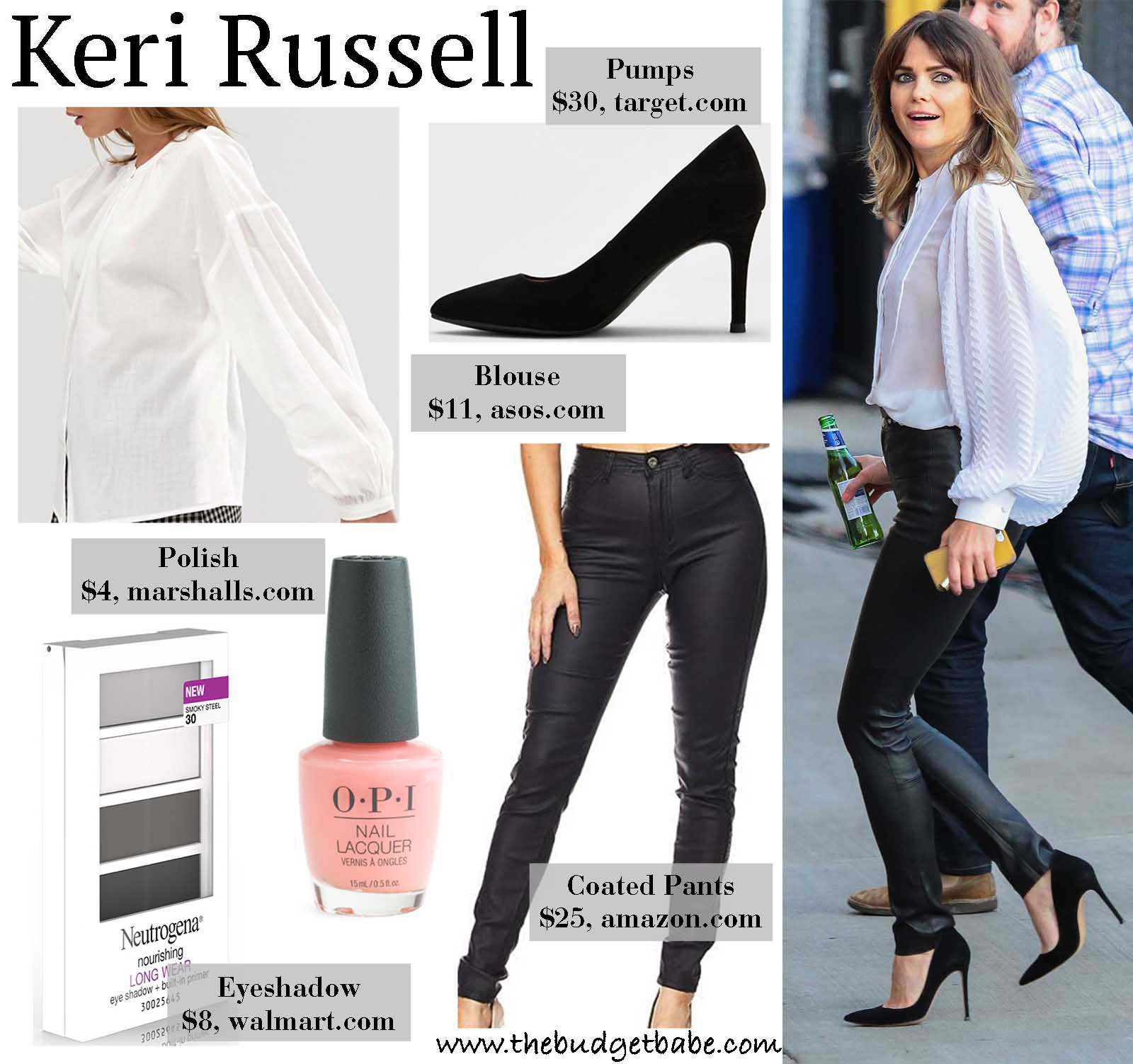 Kerri Russel's Balloon Sleeve Blouse and Leather Pants Look for Less