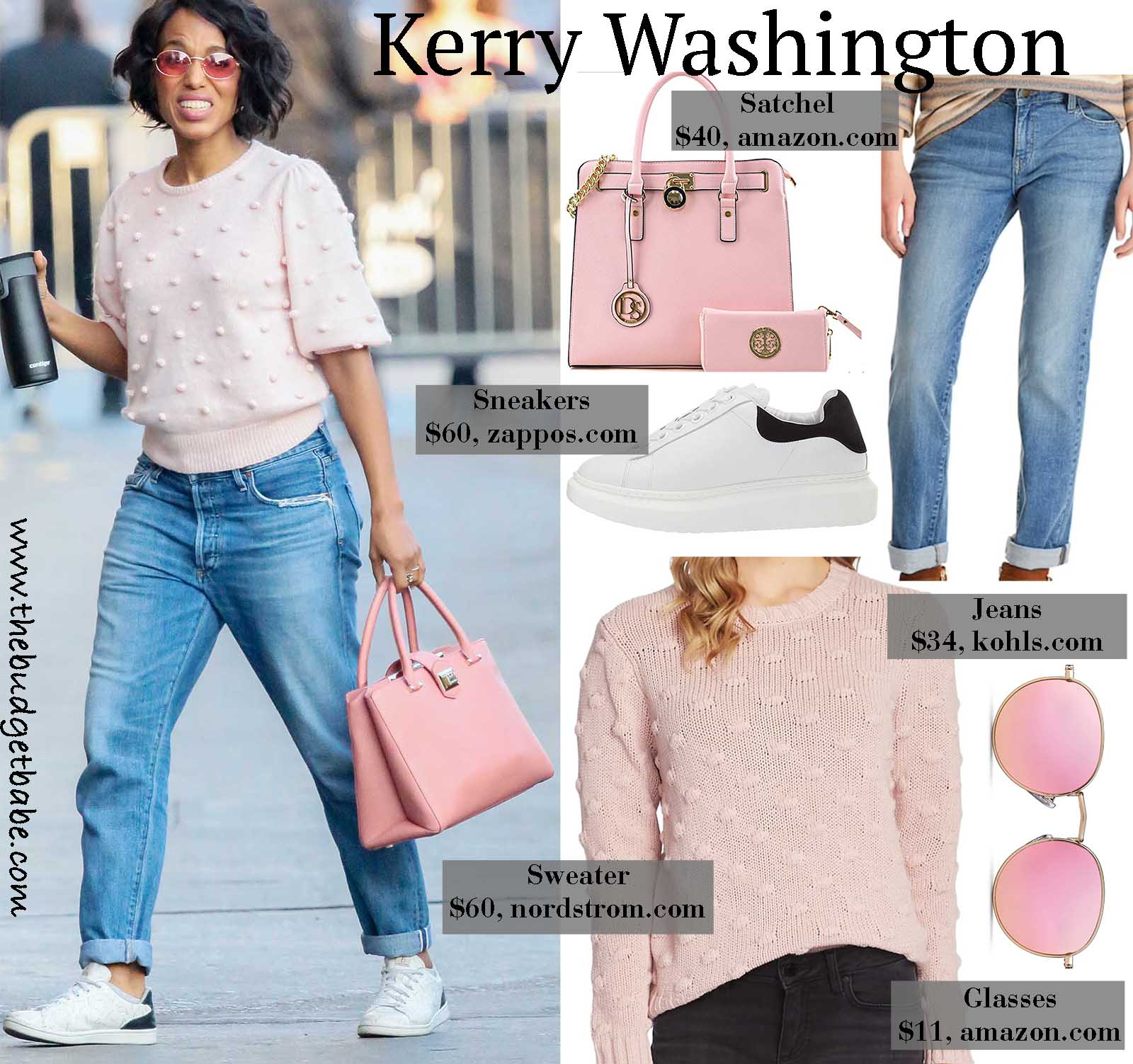 Kerry Washington looks adorable and stylish in a sweater and sneakers.