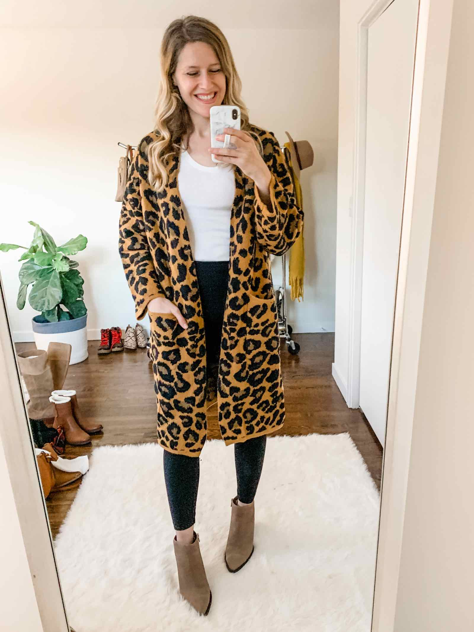 The coziest leopard print cardigan only $16.99 at Walmart!