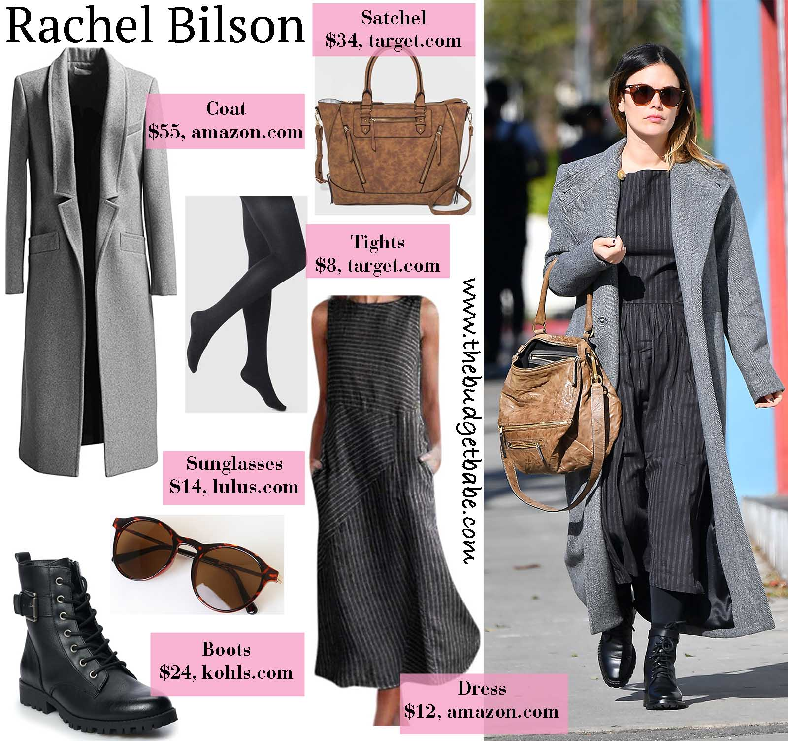 Rachel Bilson is stylish in an overcoat and combat boots!