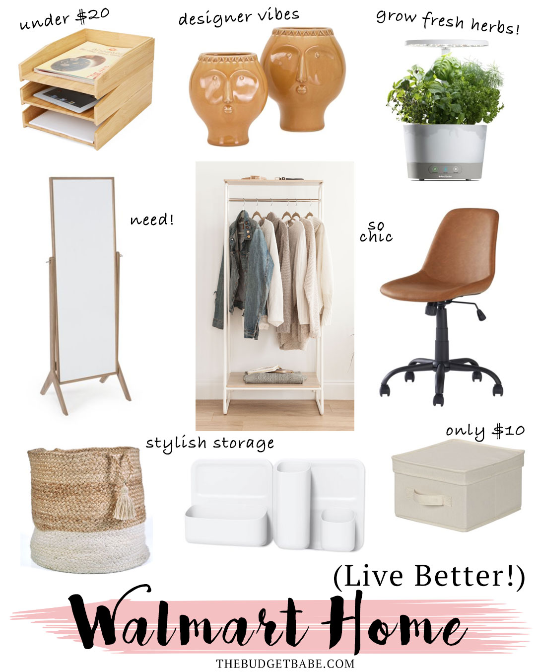 Walmart home finds on a budget - need that mirror and that basket!