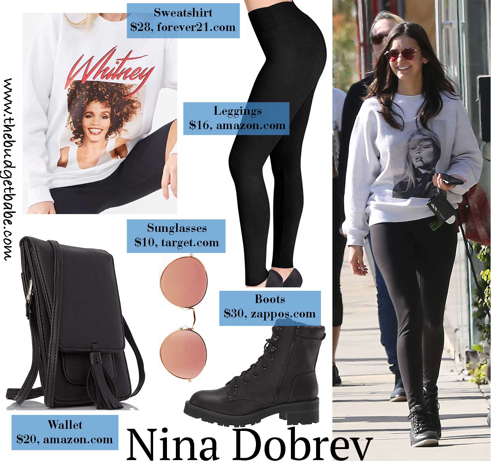 Nina Dobrev is cool girl perfection in a graphic sweatshirt!