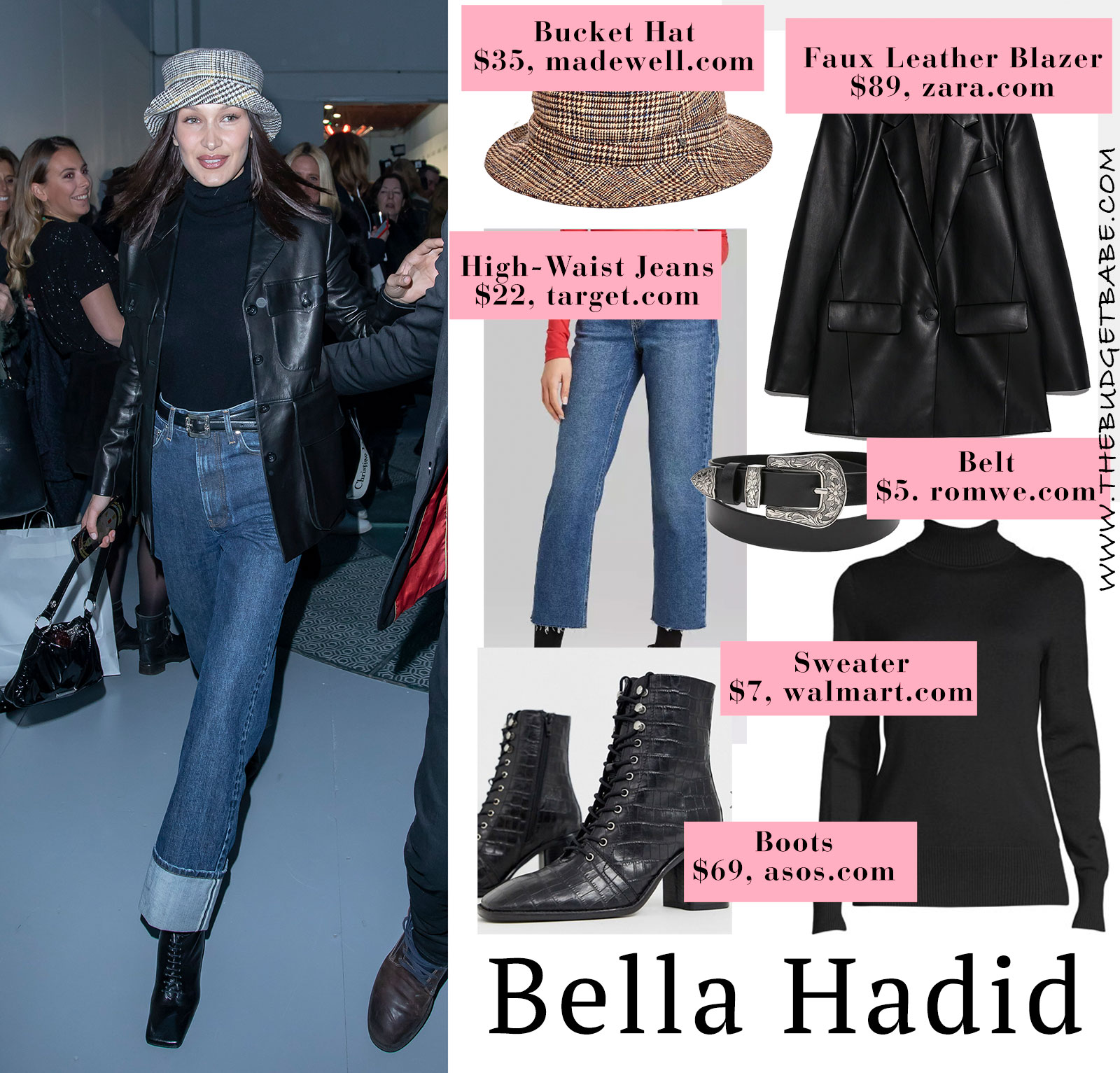 Bella Hadid's leather blazer and high waist jeans look for less