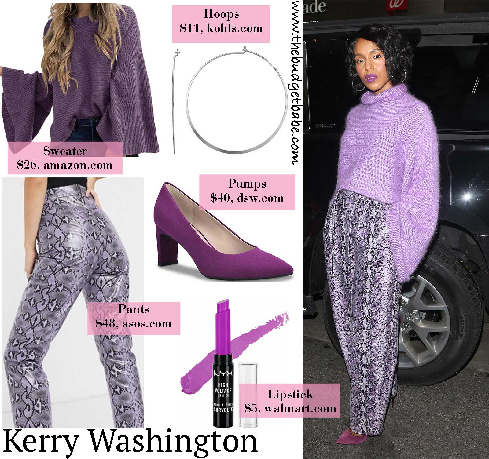 Kerry's purple snakeprint pants are show-stoppers!