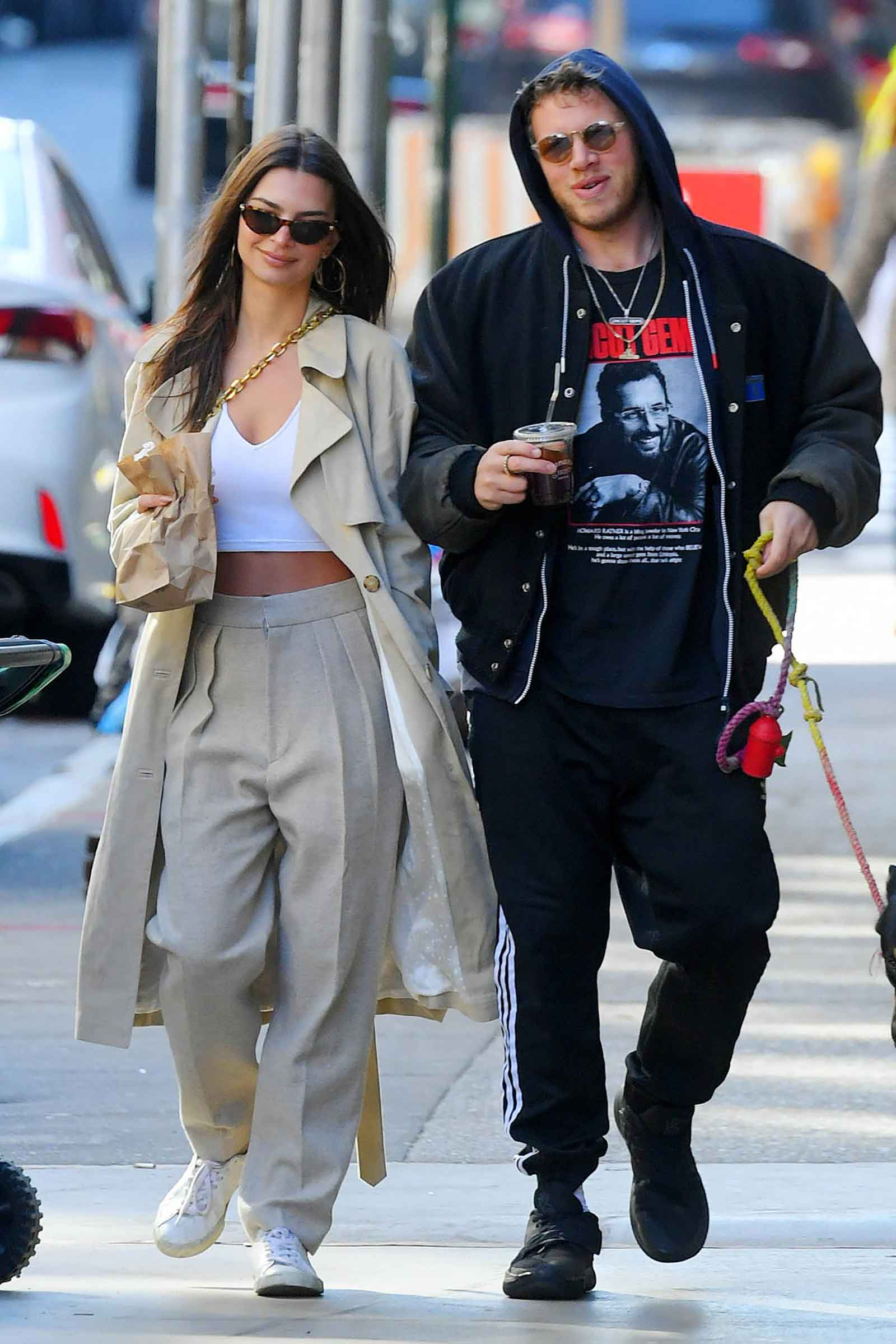 Emily Ratajkowski's pleated pants and trench coat look for less