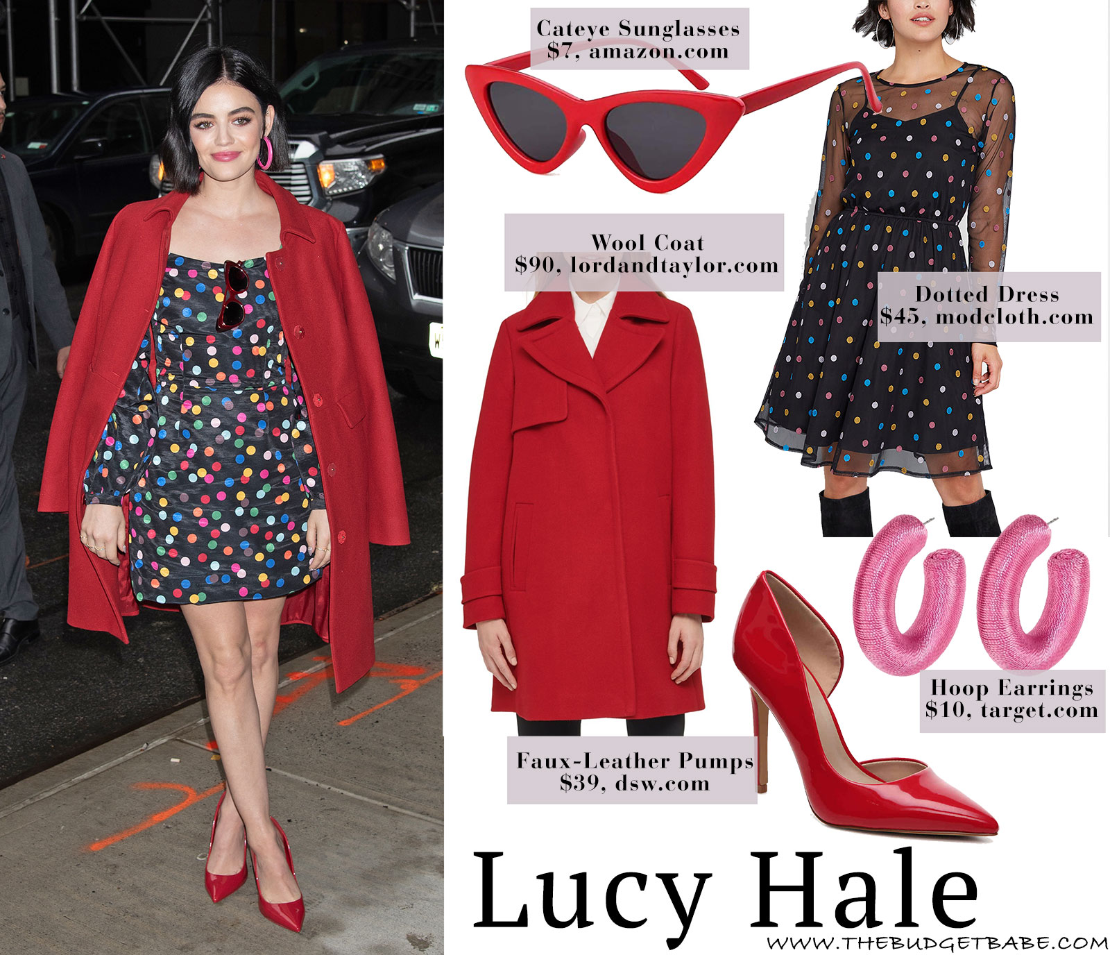 Lucy Hale's polka dot dress by Rancil look for less