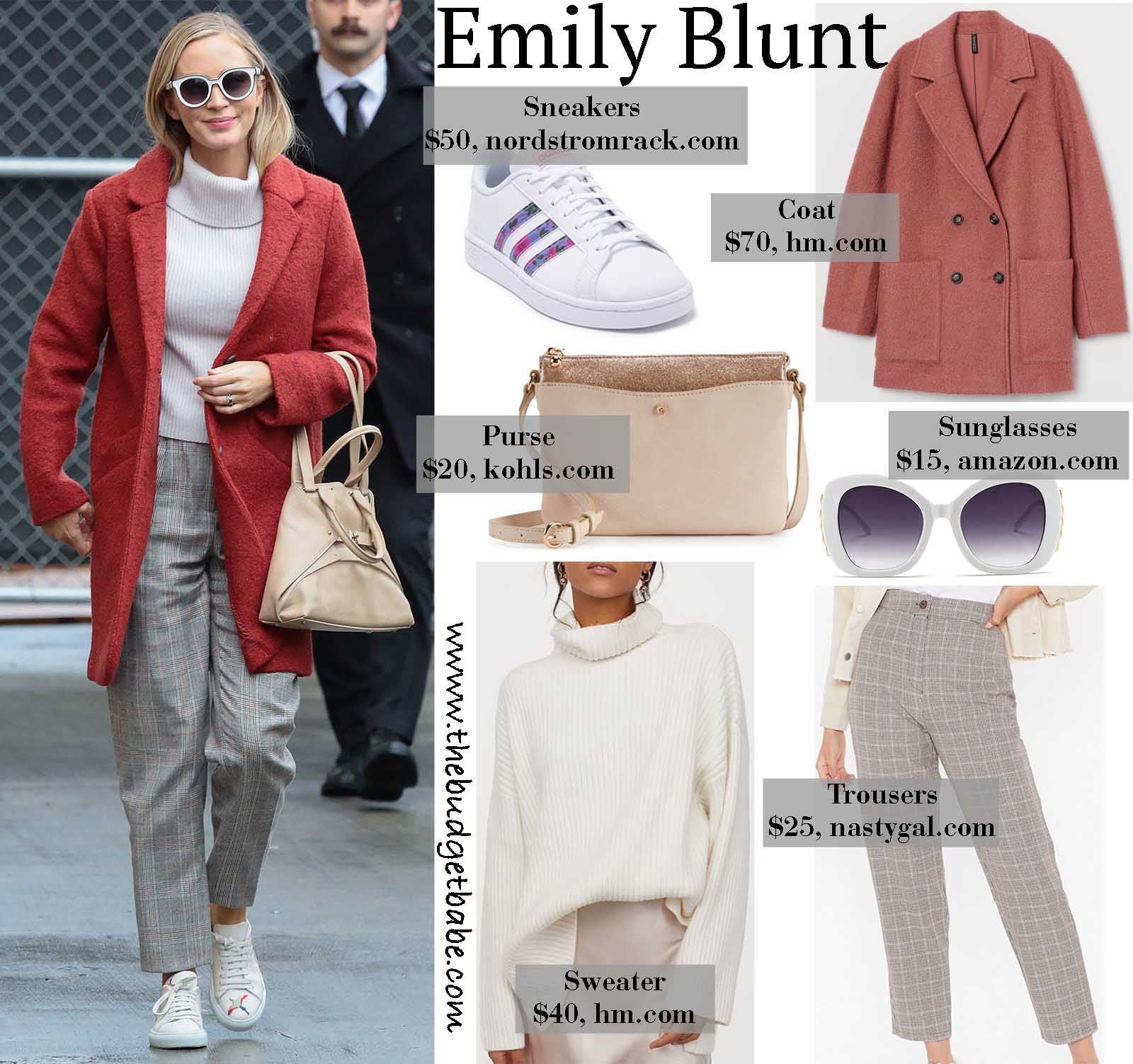 Emily Blunt stays warms in a cheery rose coat!
