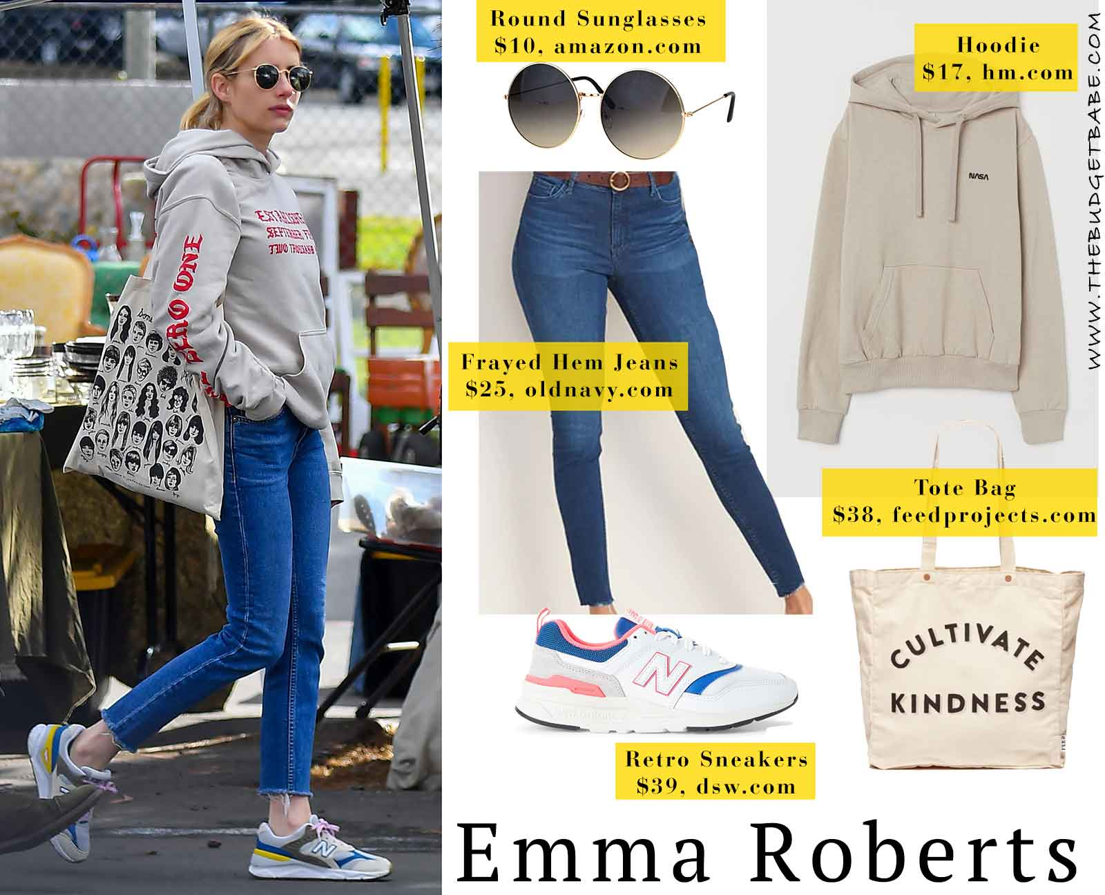 Emma Roberts One Nine Zero hoodie and New Balance sneakers
