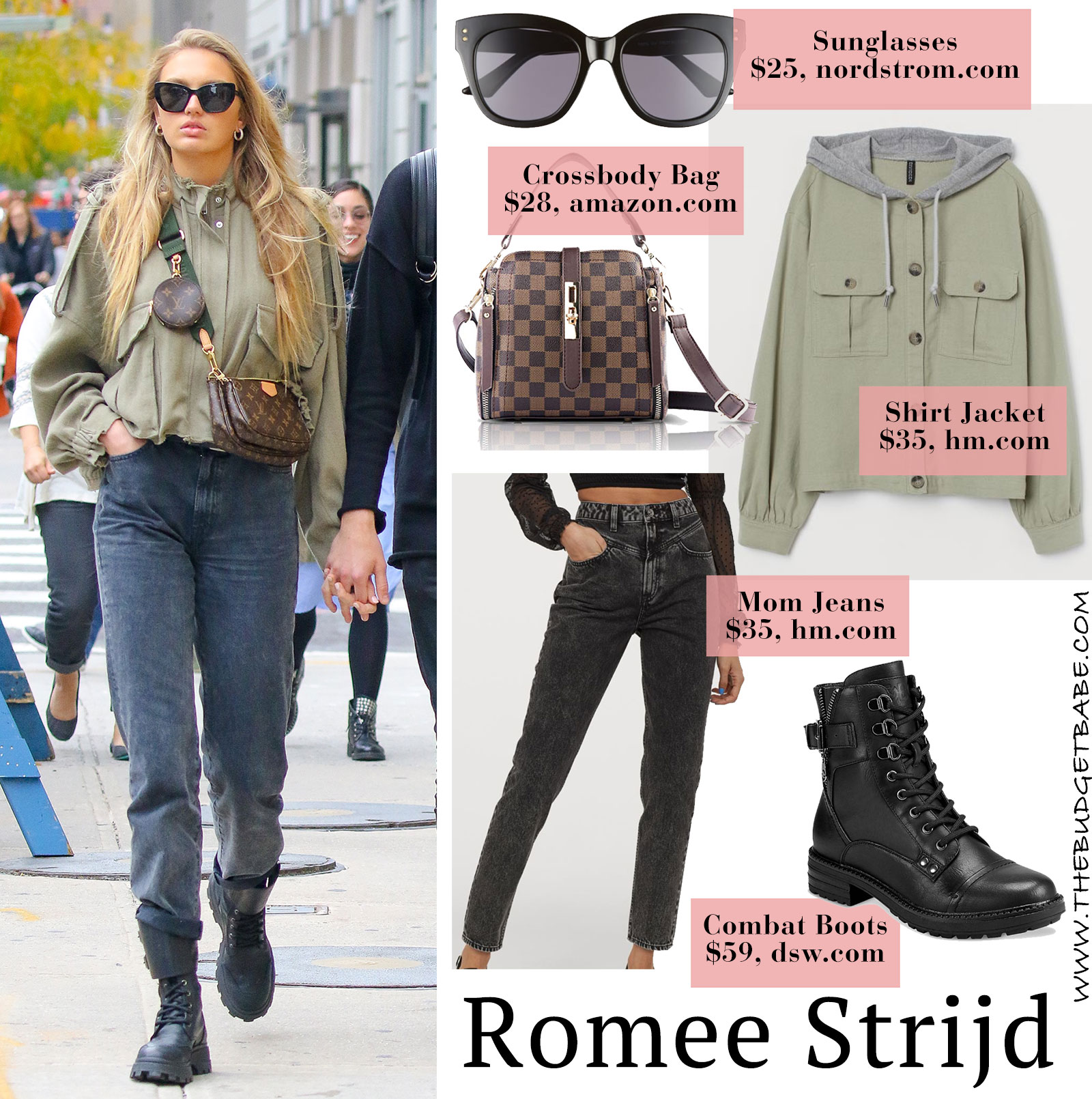 Romee Strijd's olive jacket, mom jeans and combat boots look for less