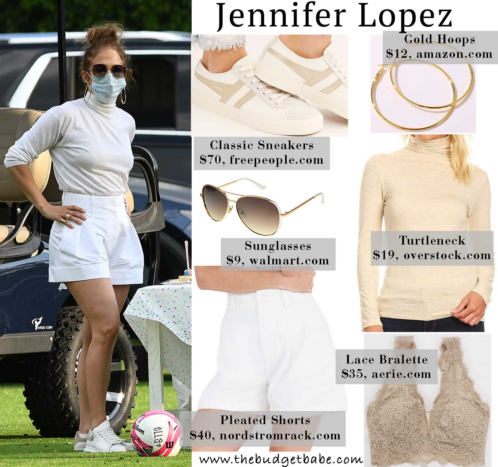 Jlo mixes it up in a turtleneck and shorts.