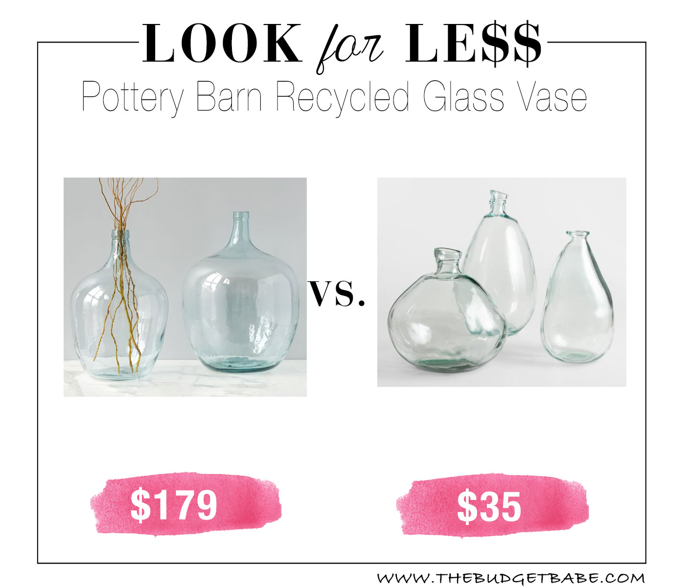 Recycled glass vase look for less