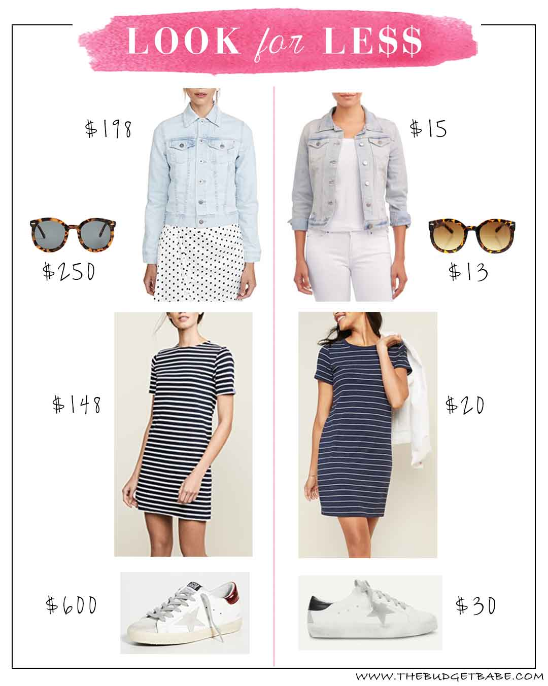 Look for less featuring stripe t-shirt dress and Golden Goose sneaker dupes!