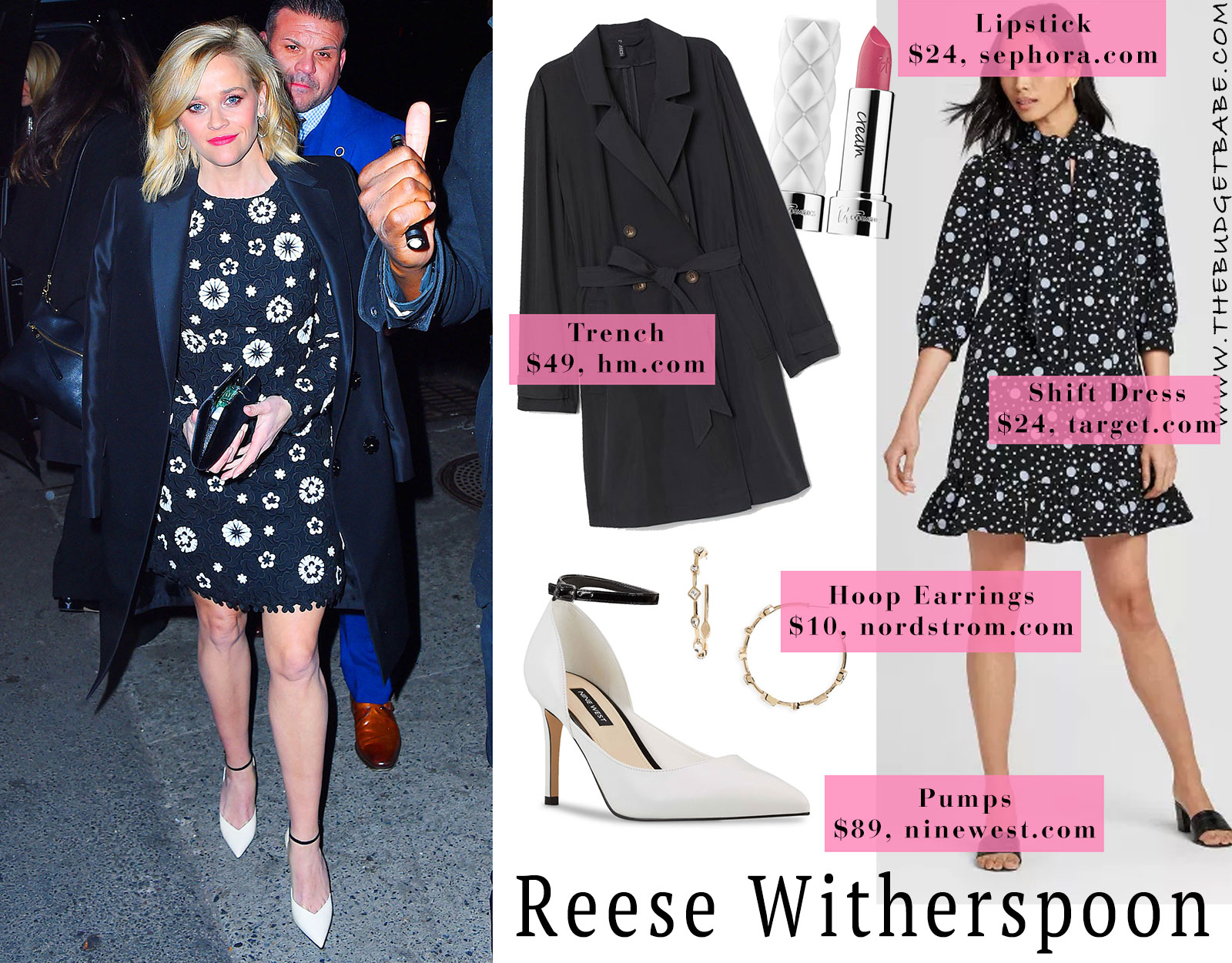 Reese Witherspoon's Navy and White Lace Dress Look for Less
