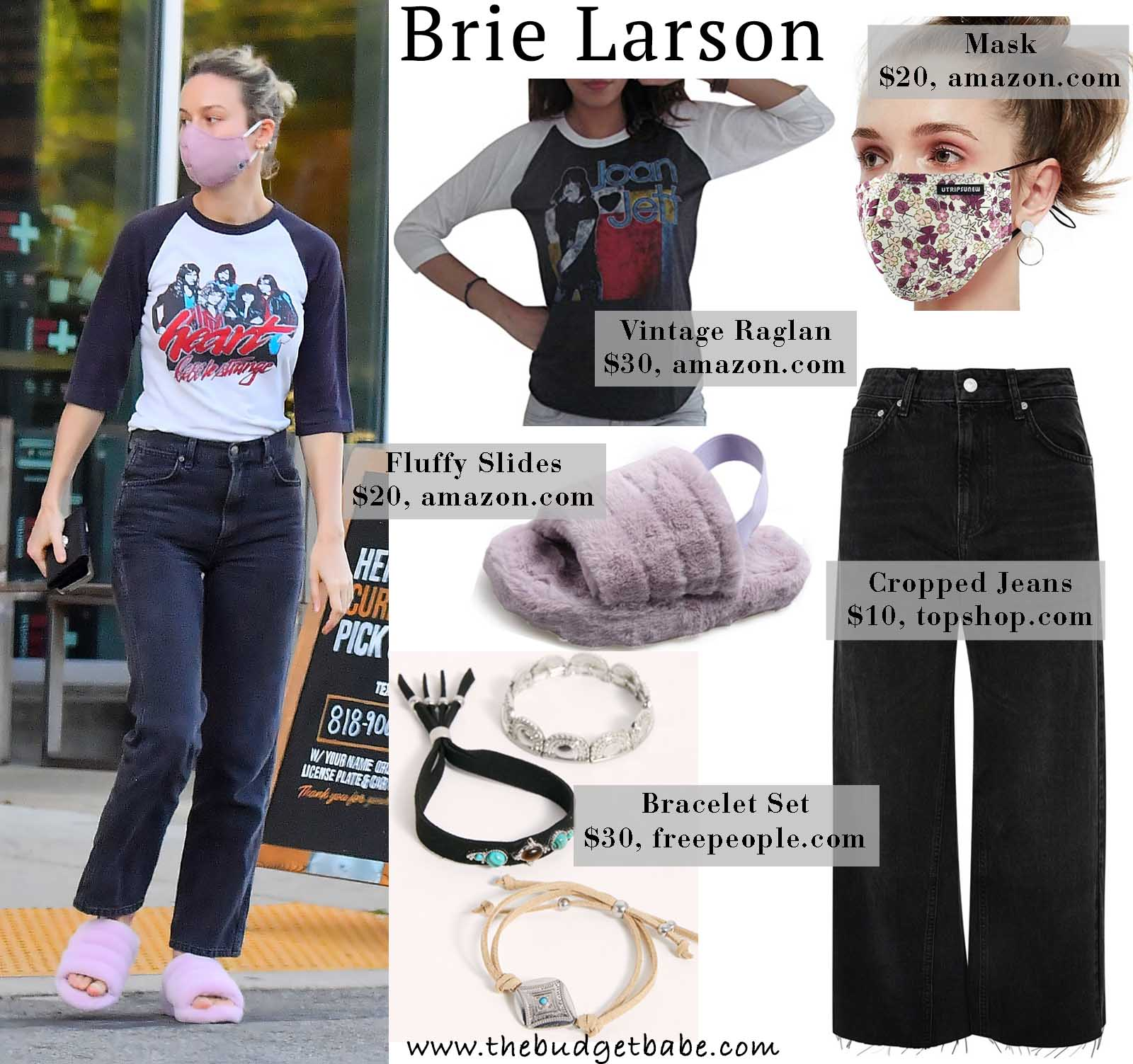 Brie Larson rocks a band tee and jeans.