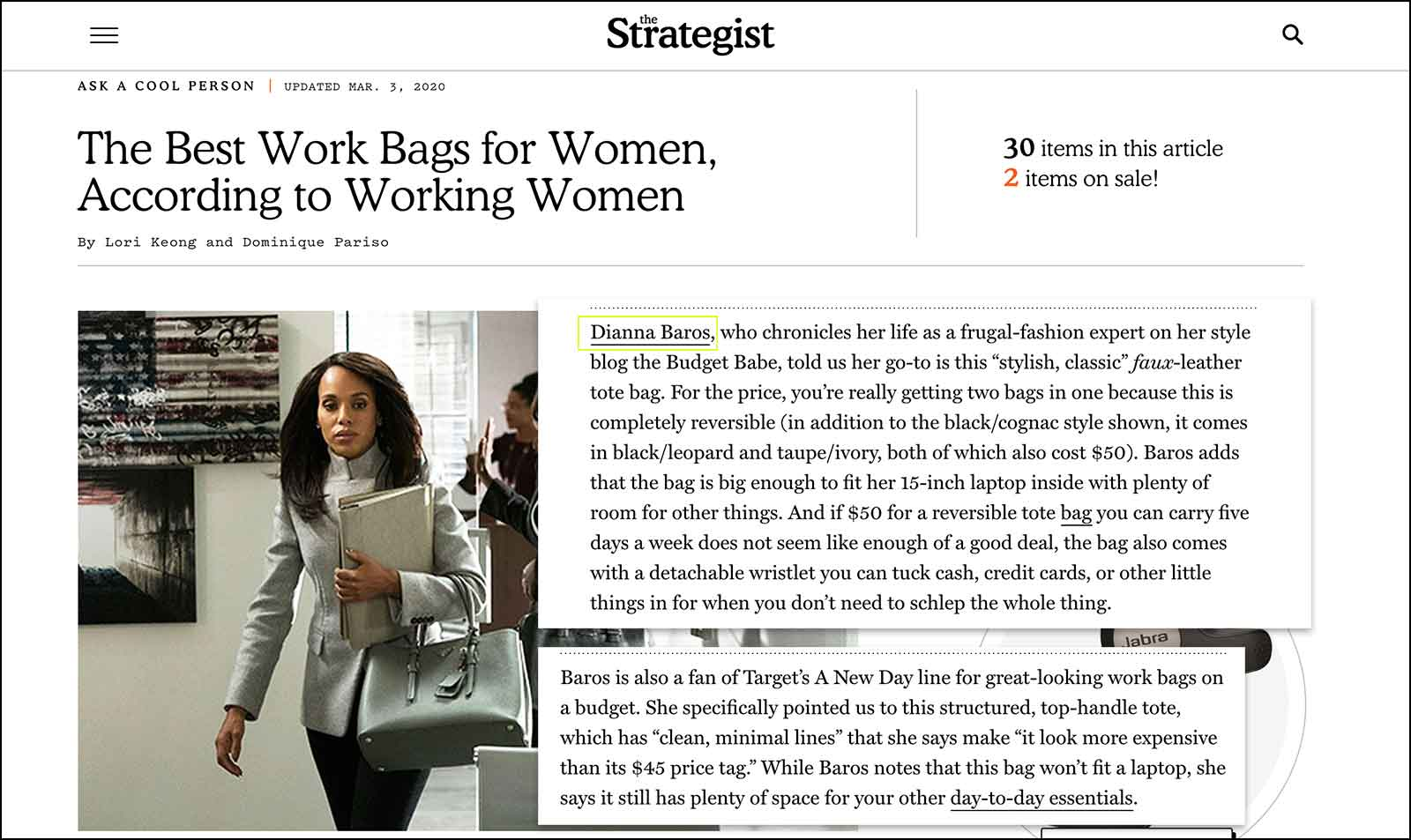 The Strategist rounds up the best bags for working women on every budget. Dianna Baros contributes.