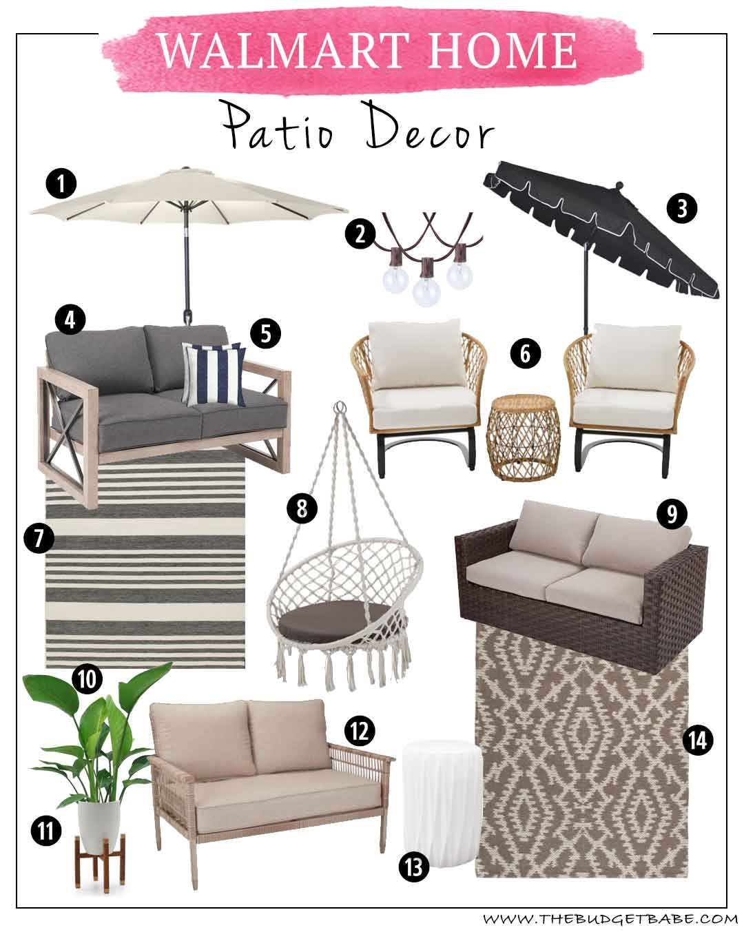 Walmart Patio Decor On A Budget | Outdoor Rugs, Patio Furniture, Umbrellas, Pillows and Plants