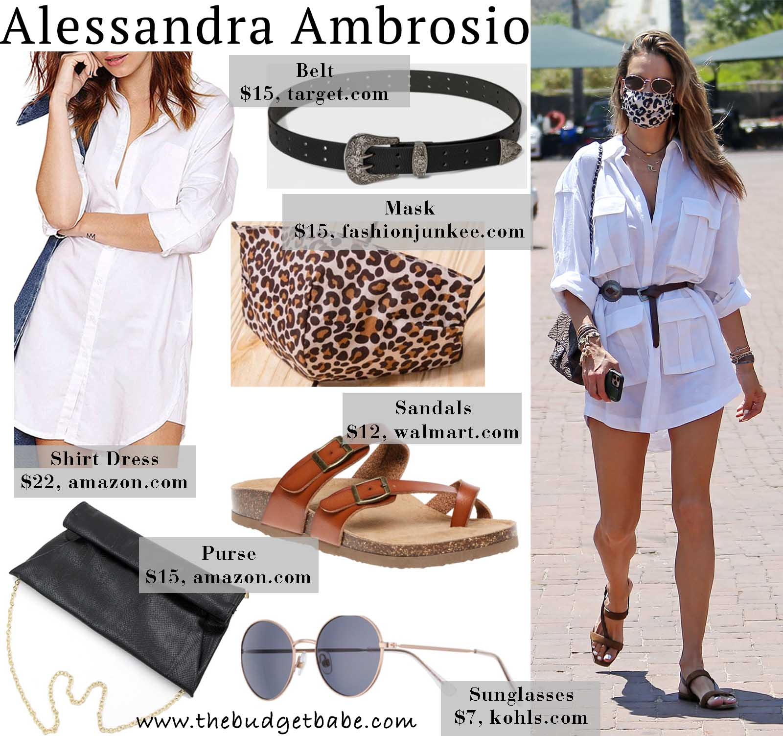 Alessandra Ambrosio's Button Down Tunic Dress and Leather Sandals Look for Less